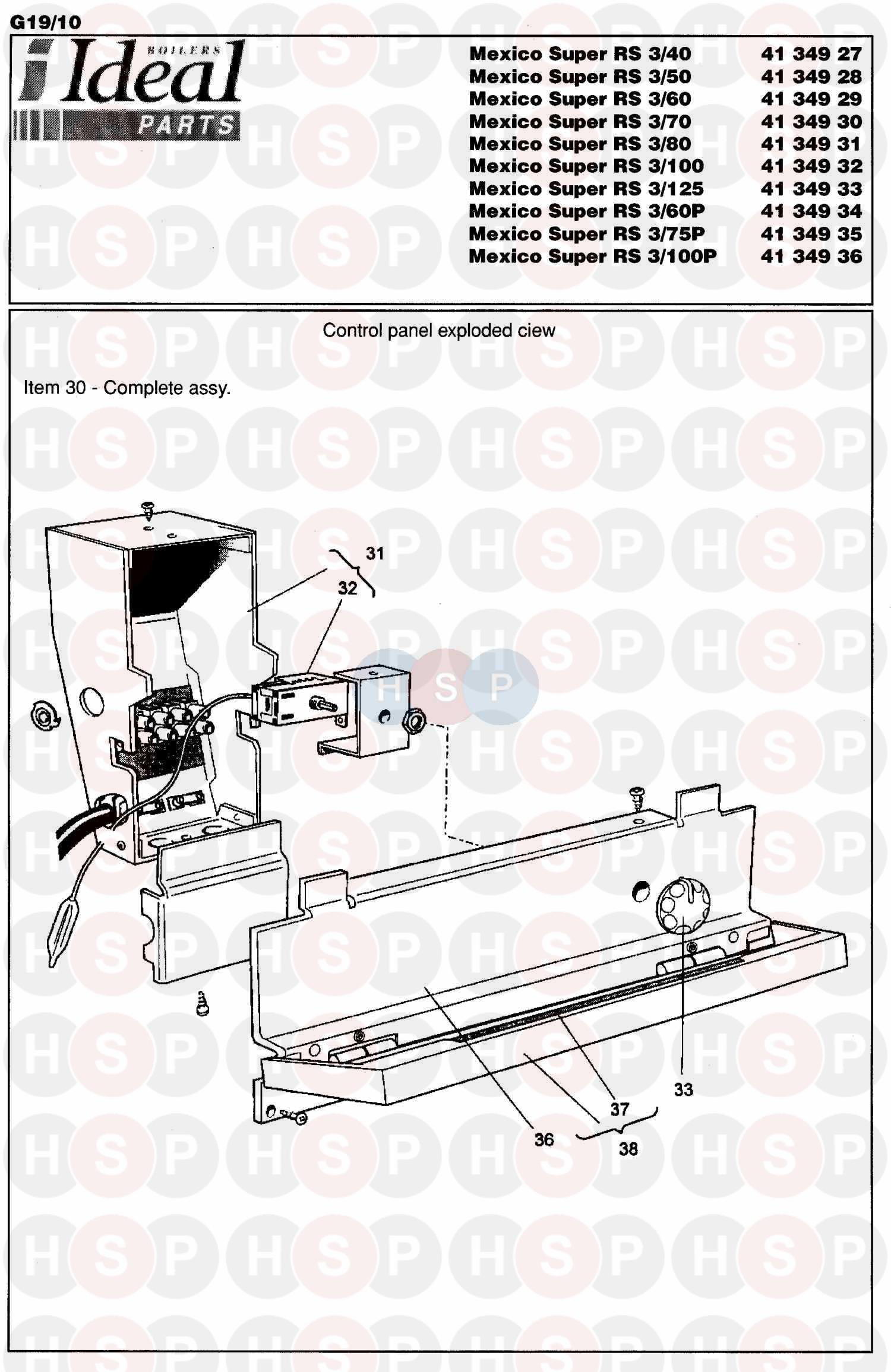 Ideal Mexico Super 3 Rs 125  Control Box Ass Diagram