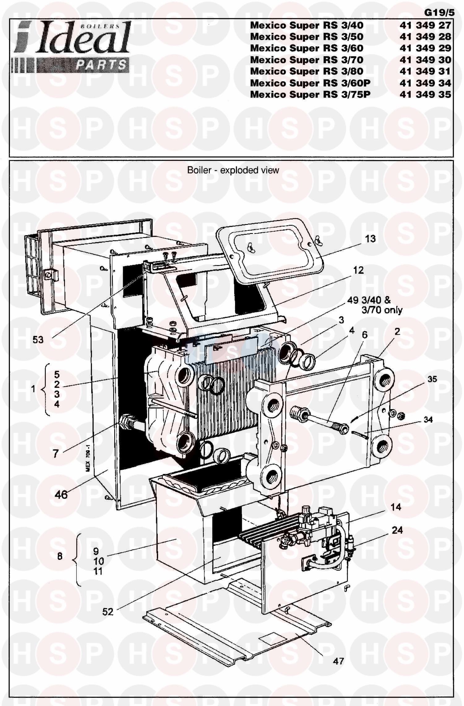 Ideal MEXICO SUPER 3 RS 100 (BOILER ASSEMBLY 1) Diagram