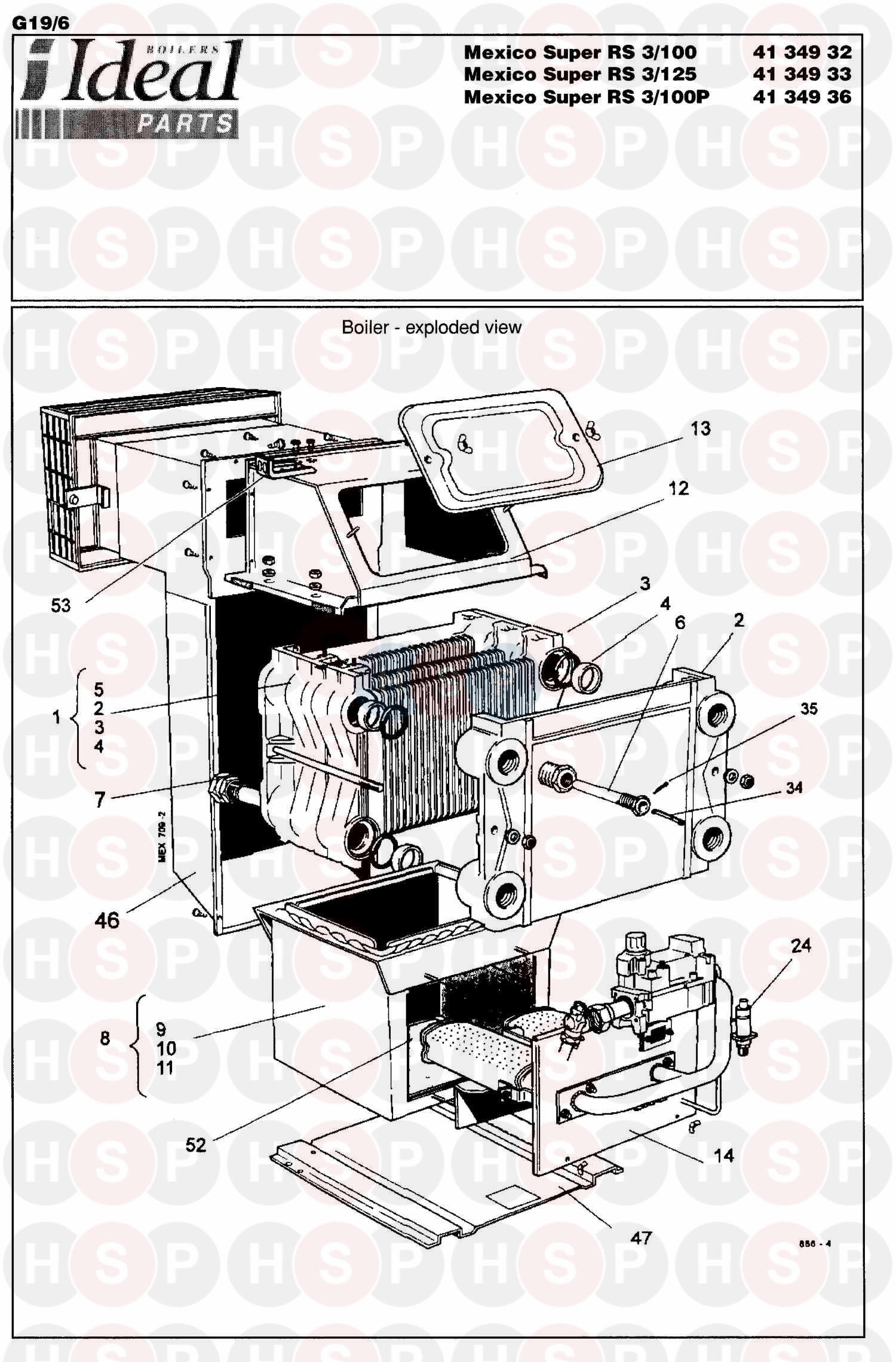 Ideal MEXICO SUPER 3 RS 100 (BOILER ASSEMBLY 2) Diagram