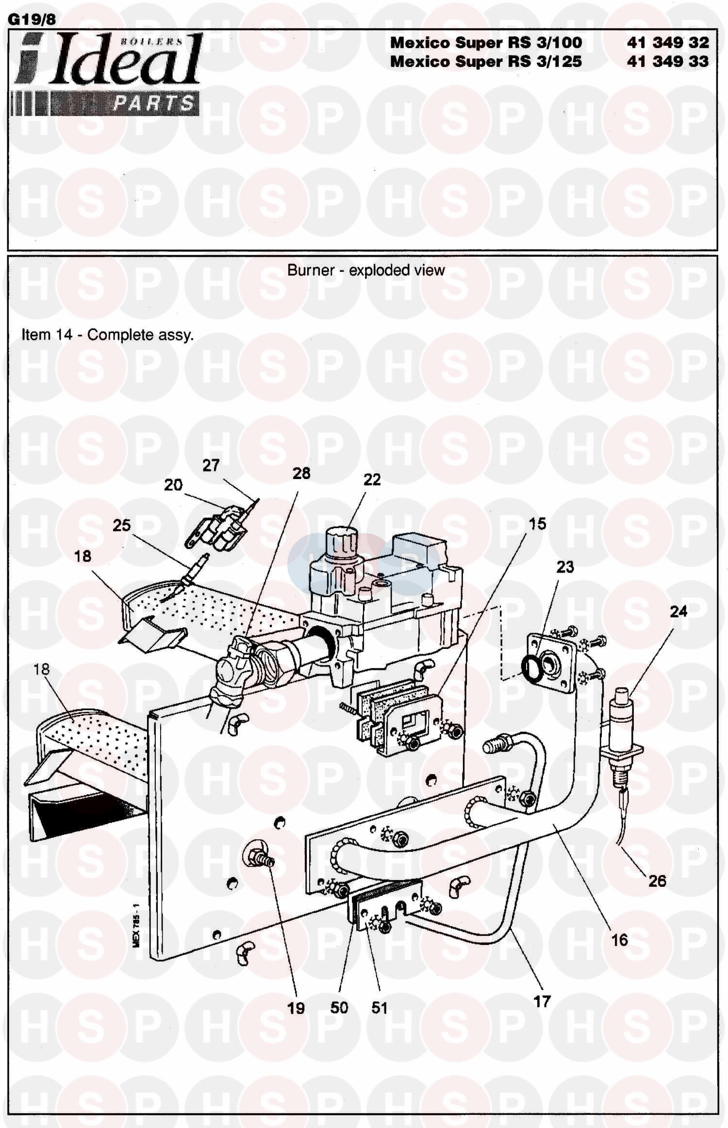 Ideal MEXICO SUPER 3 RS 60P (Burner Control Ass 2) Diagram