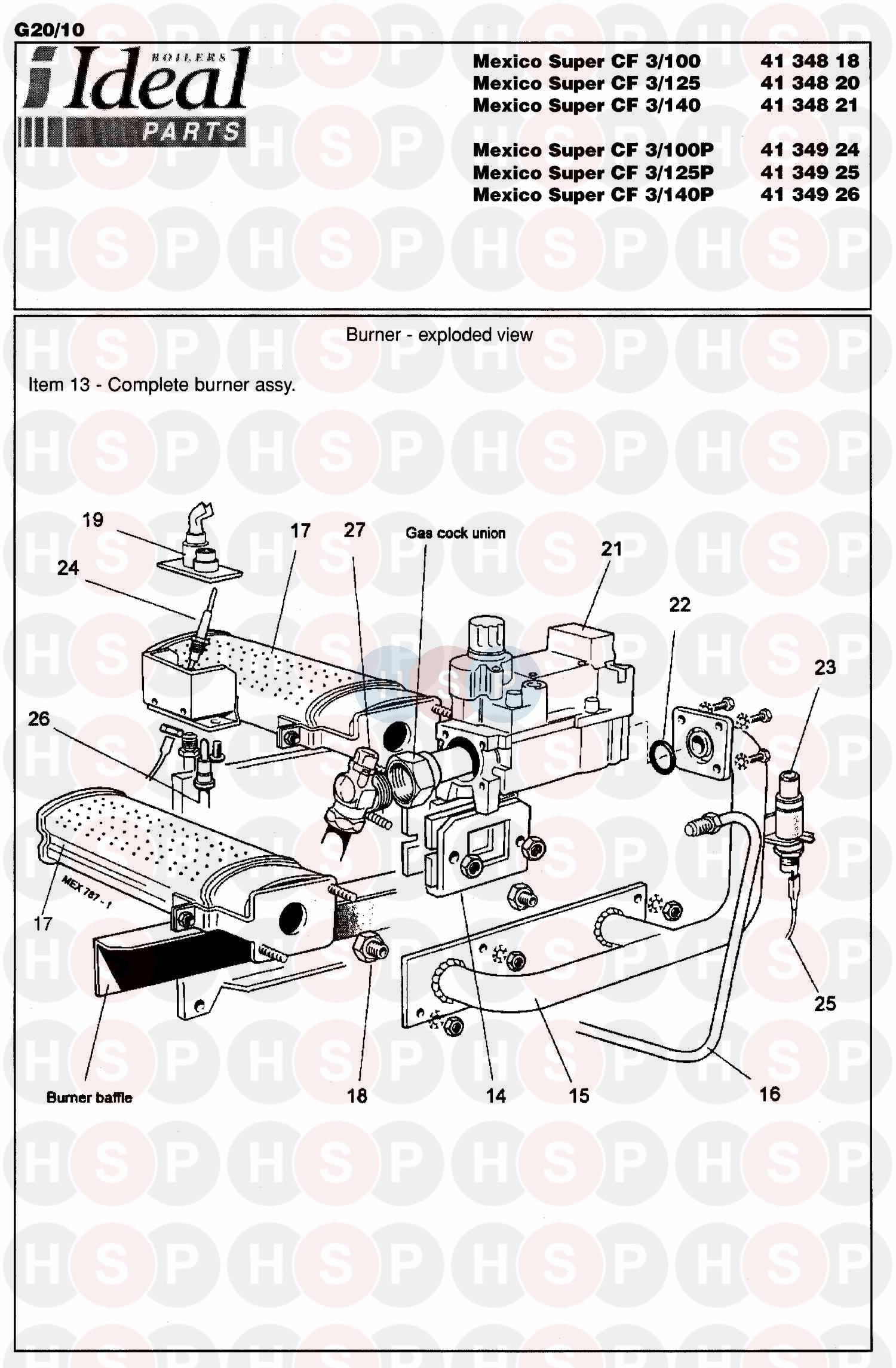 Ideal MEXICO SUPER 3 CF 70 (Burner Assembly) Diagram
