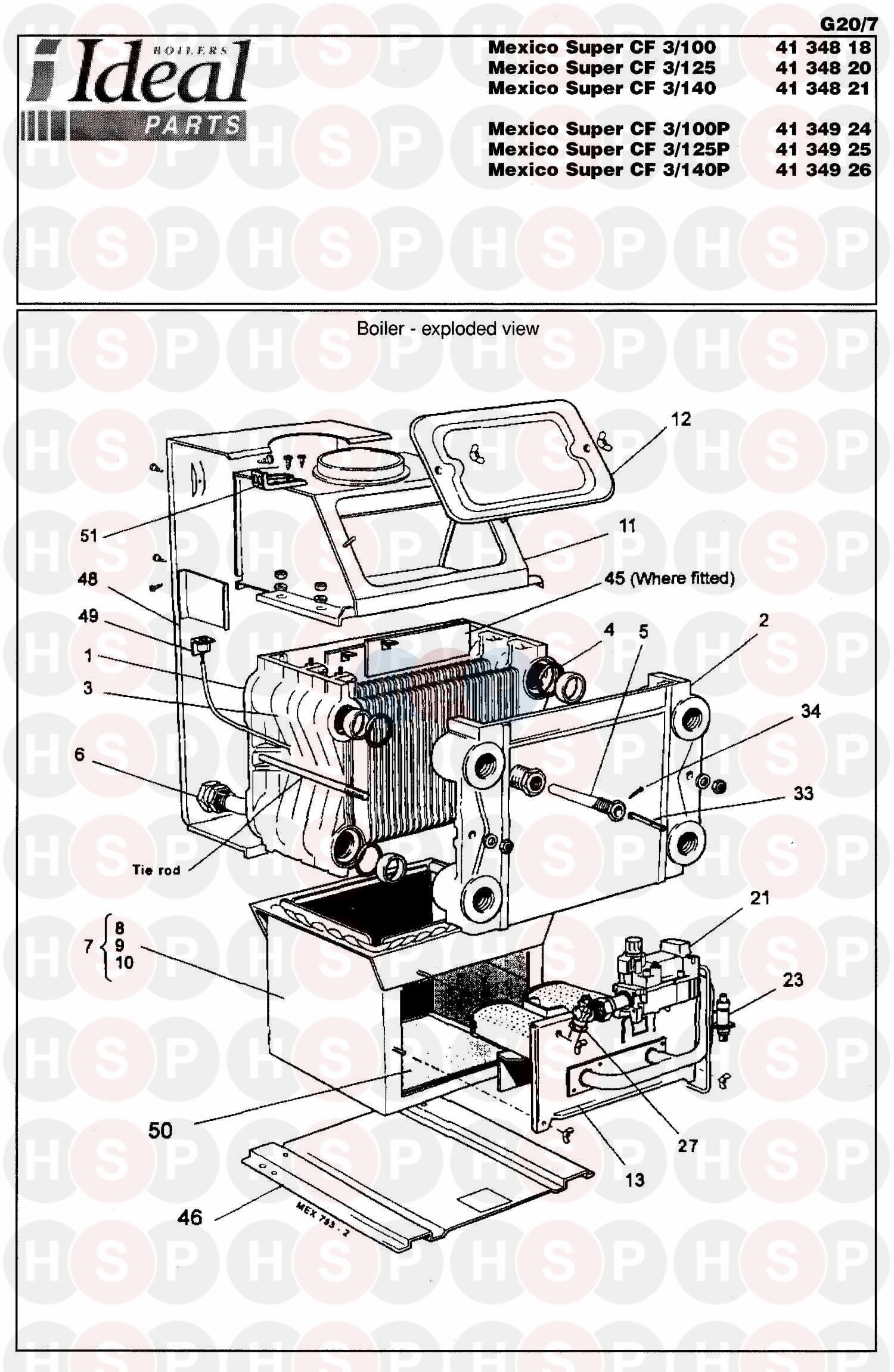 Ideal MEXICO SUPER 3 CF 70 (BOILER ASSEMBLY 2) Diagram