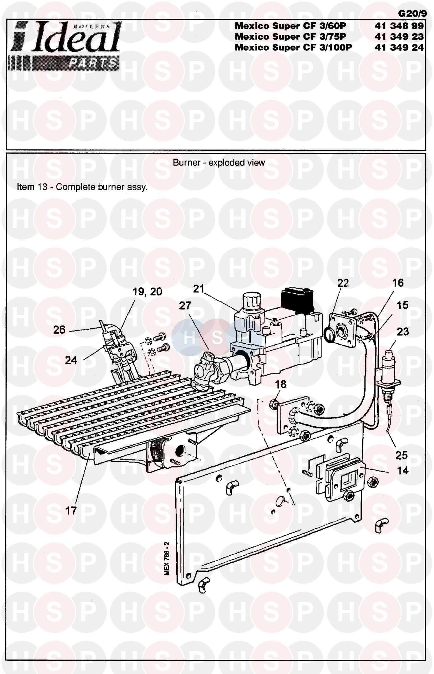 Ideal Mexico Super 3 Cf 125  Burner Control Ass 2 Diagram