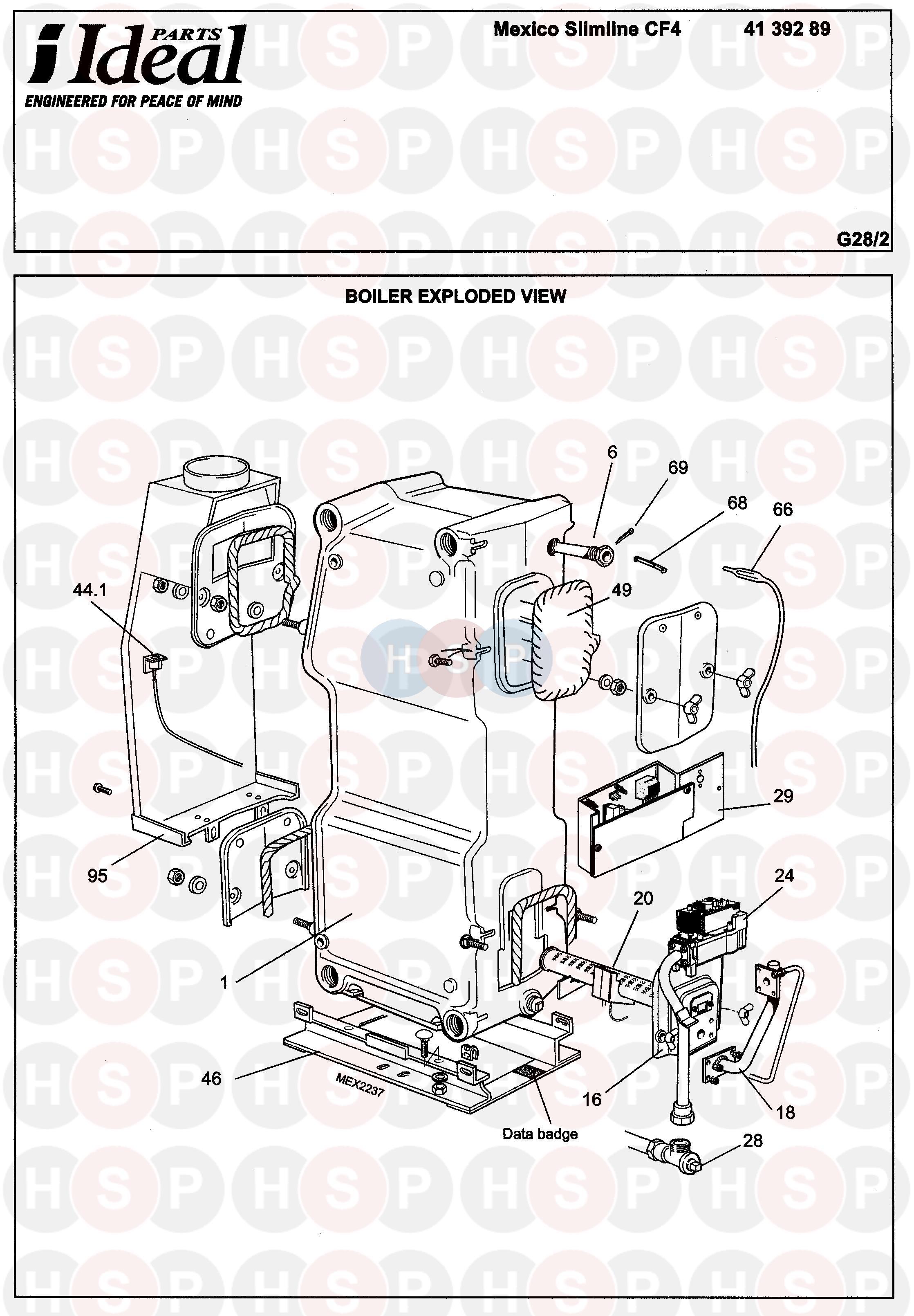 Ideal Mexico Slimline Cf4 40  Boiler Diagram