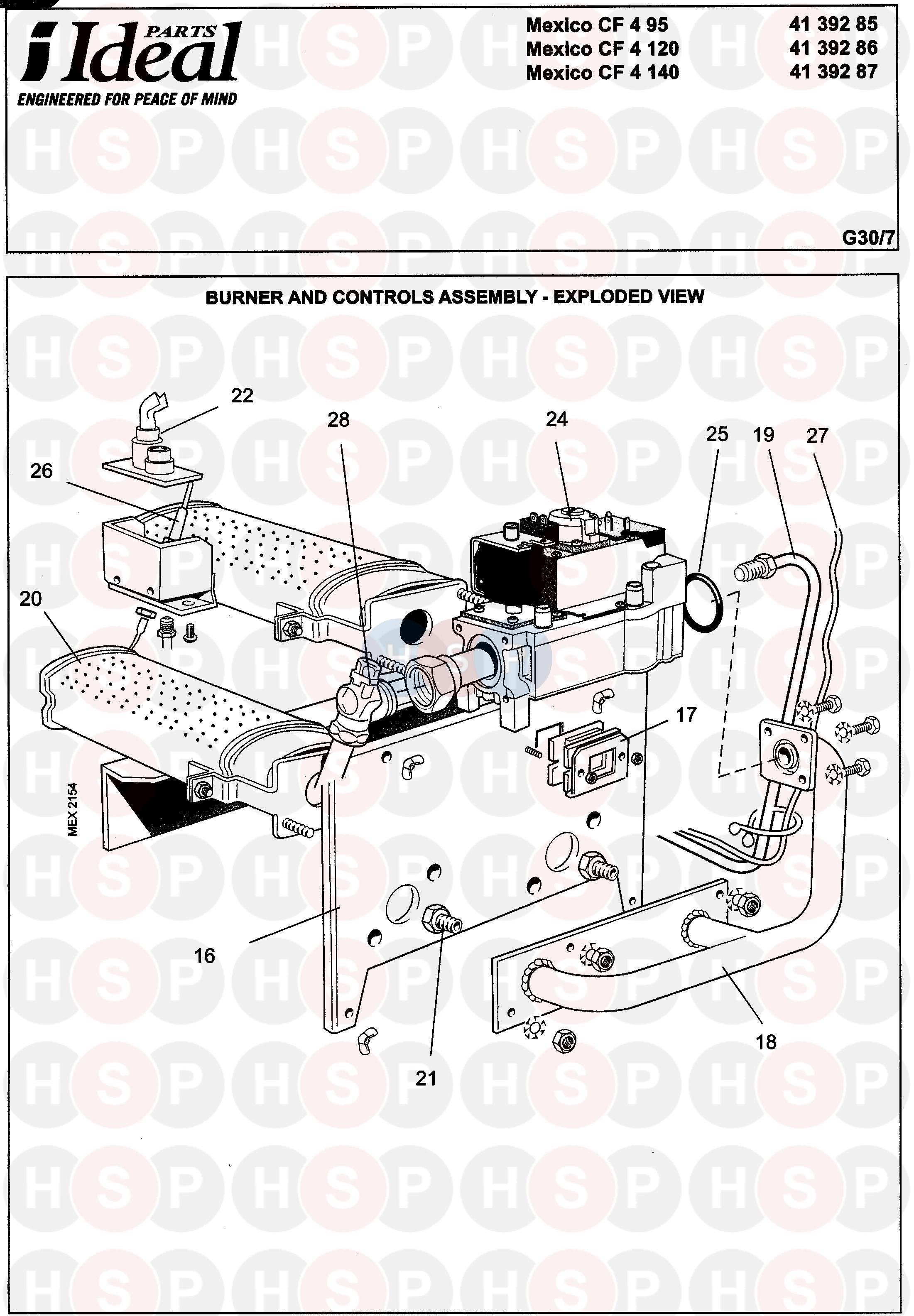 Ideal Mexico Cf 4 95 Burner 2 Diagram Heating Spare Parts