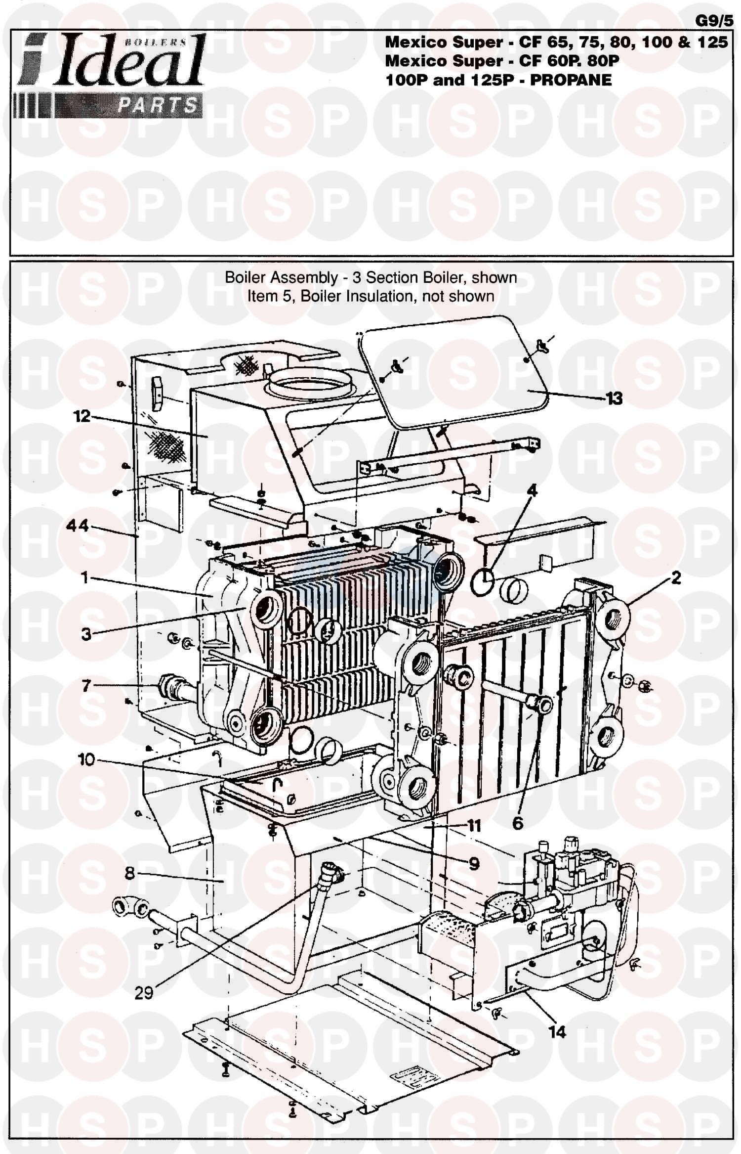 ideal mexico super cf 65  boiler assembly 1  diagram
