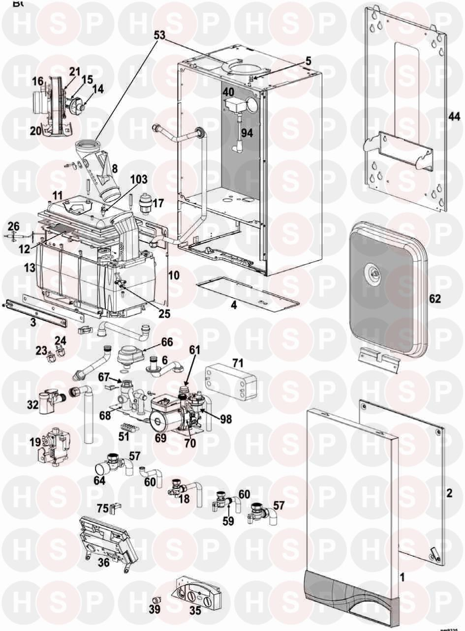 Ideal ISAR HE35 Appliance Diagram (Exploded view after XF