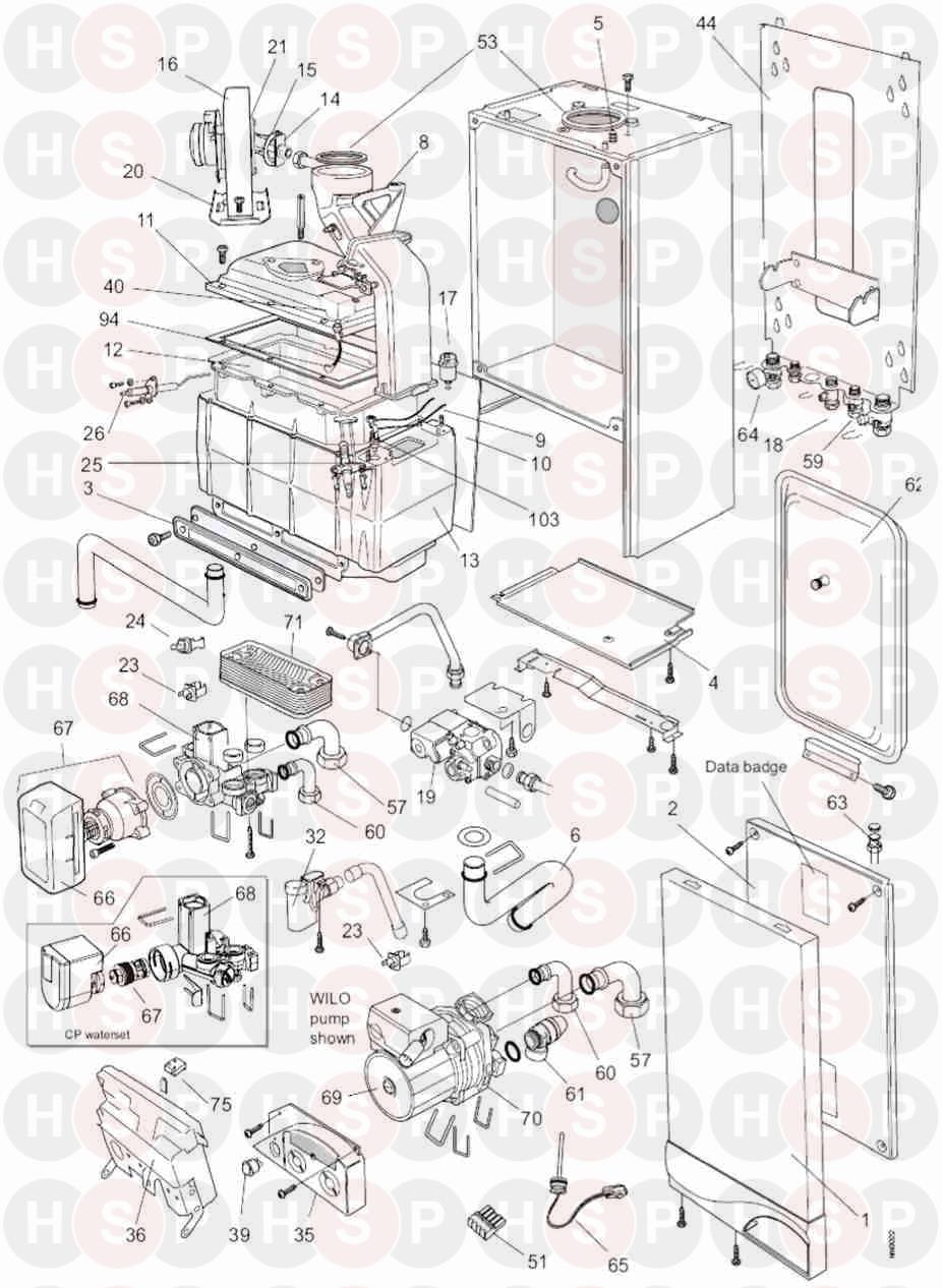 Ideal ISAR HE35 Appliance Diagram (Exploded view before XF