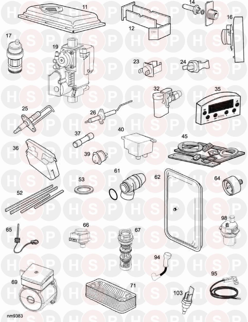 Ideal ISAR HE35 Appliance Diagram (Short parts list XF