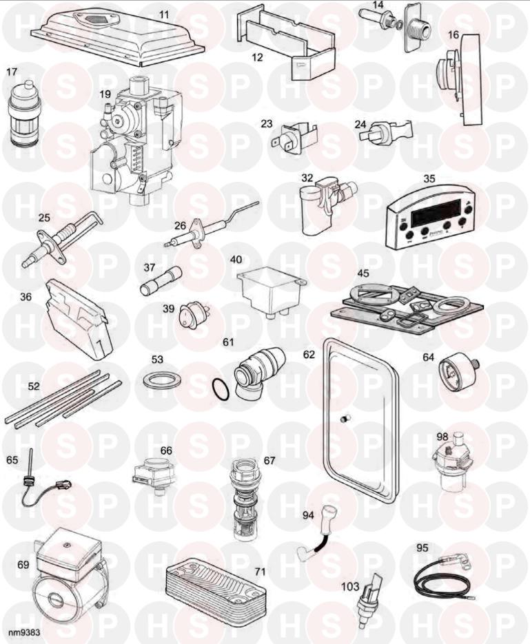 Ideal ISAR HE30 Appliance Diagram (Short parts list XF