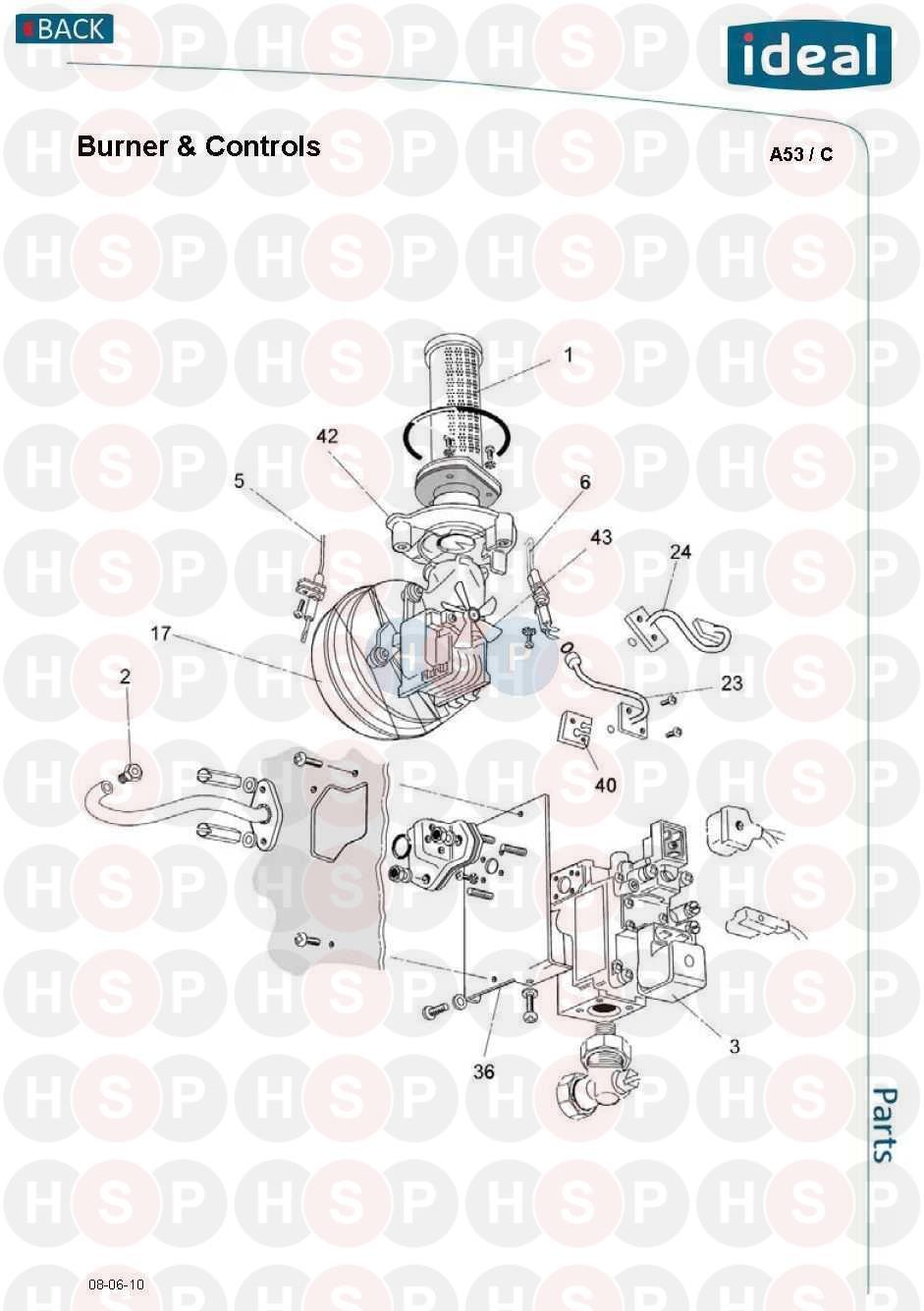 Ideal MINIMISER 80FF Appliance Diagram (BURNER & CONTROLS