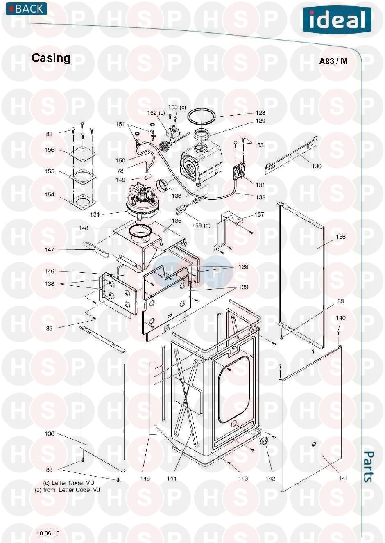 ideal mini he c24  casing  diagram