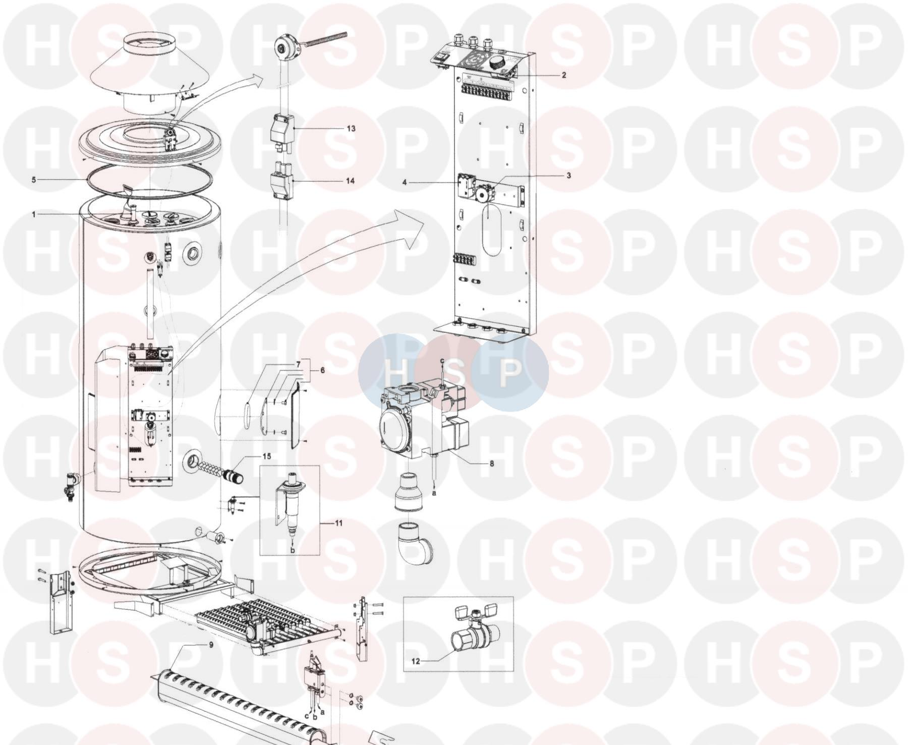 Johnson Starley STATE SCT80-140 Appliance Diagram (GAS