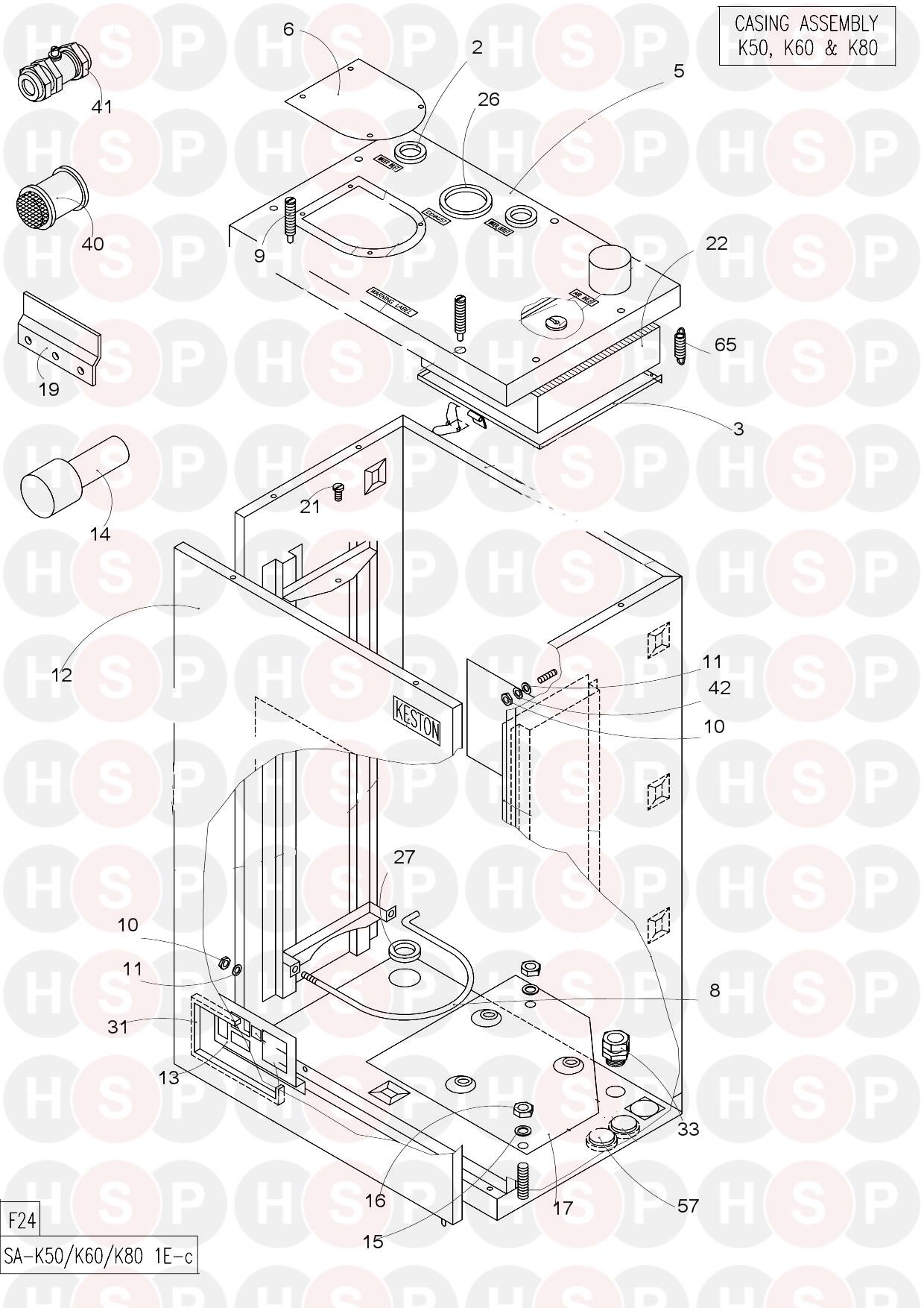 Keston KESTON K50 NG (CASING) Diagram | Heating Spare Parts on