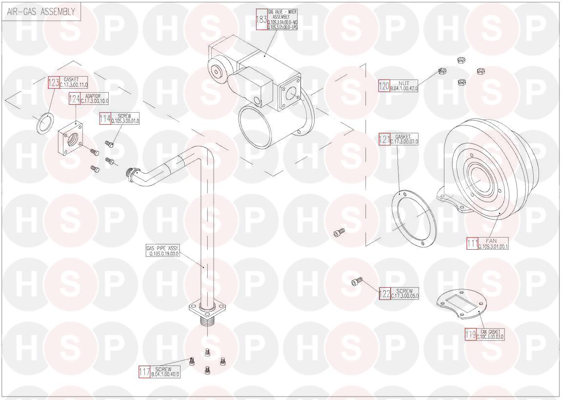 Keston KESTON QUDOS 28S (AIR GAS ASSEMBLY) Diagram