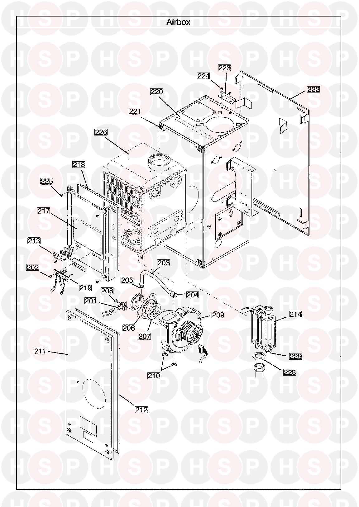 main 15 he a heat only appliance diagram  air box