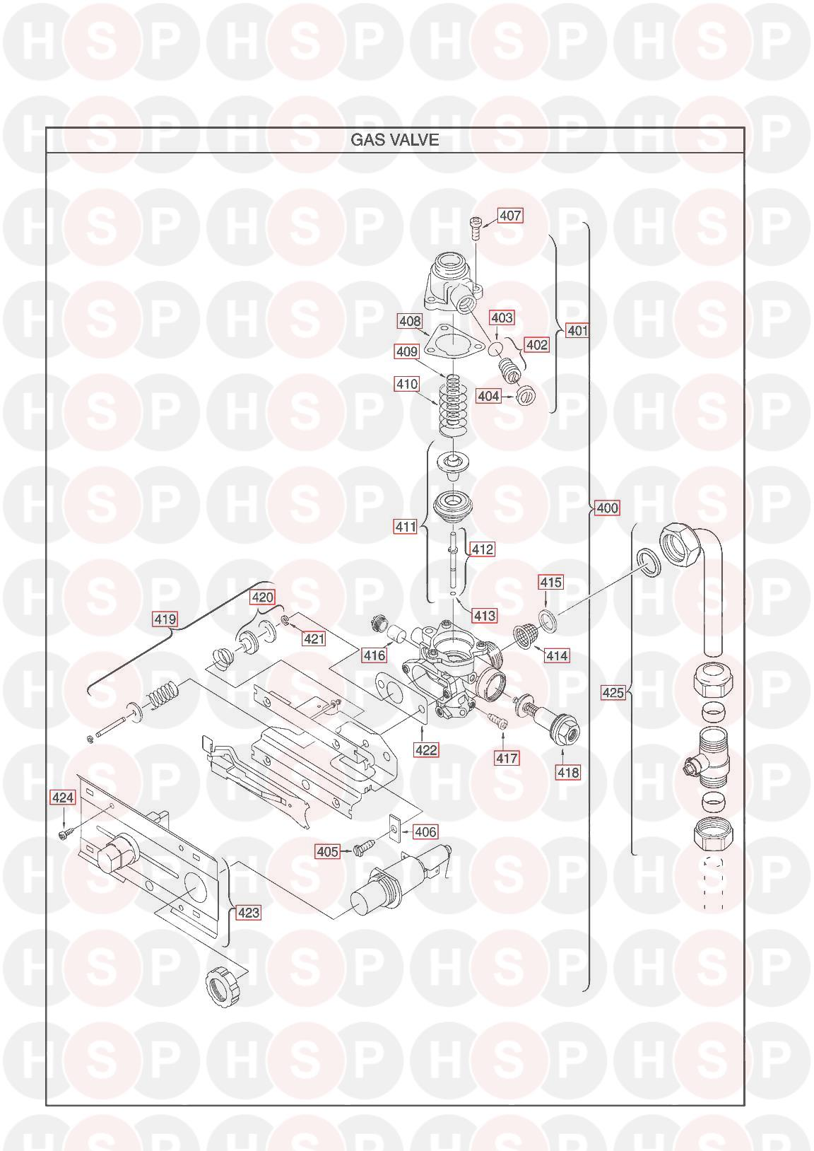 Main Multipoint BF WATER HEATER Appliance Diagram (GAS