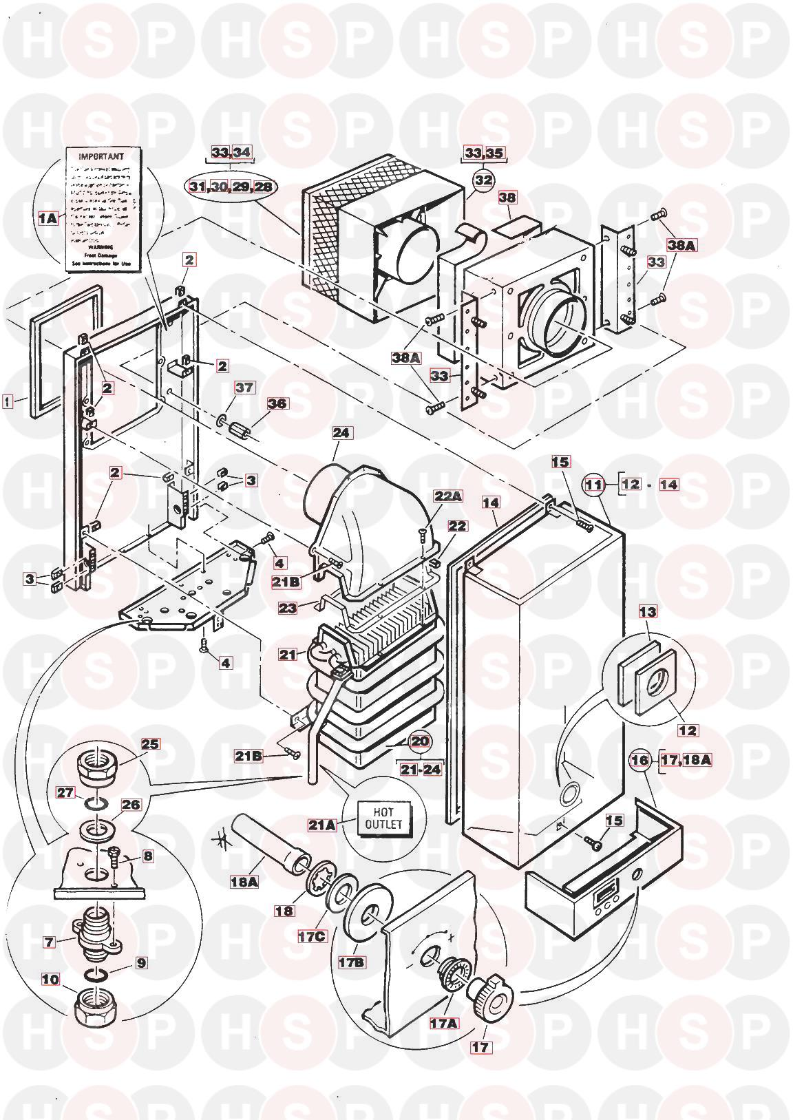 Main MEDWAY SUPER Appliance Diagram (HEAT EXCHANGER OUTER