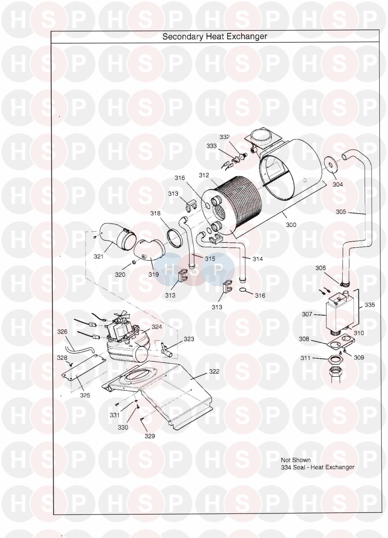 Main Combi 30HE Appliance Diagram (HEAT EXCHANGER