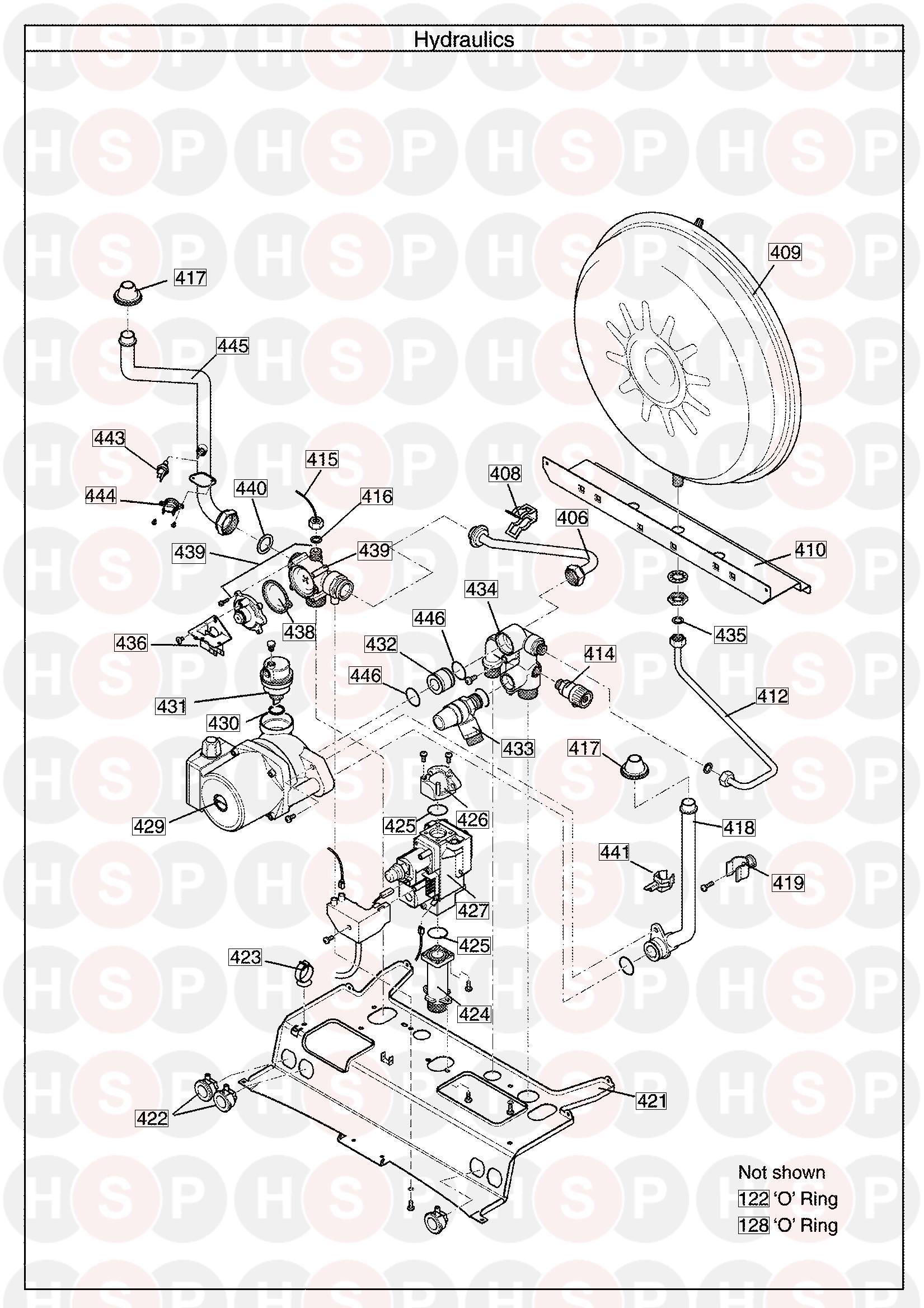 Potterton PERFORMA 18 HE SYSTEM (Hydraulics) Diagram