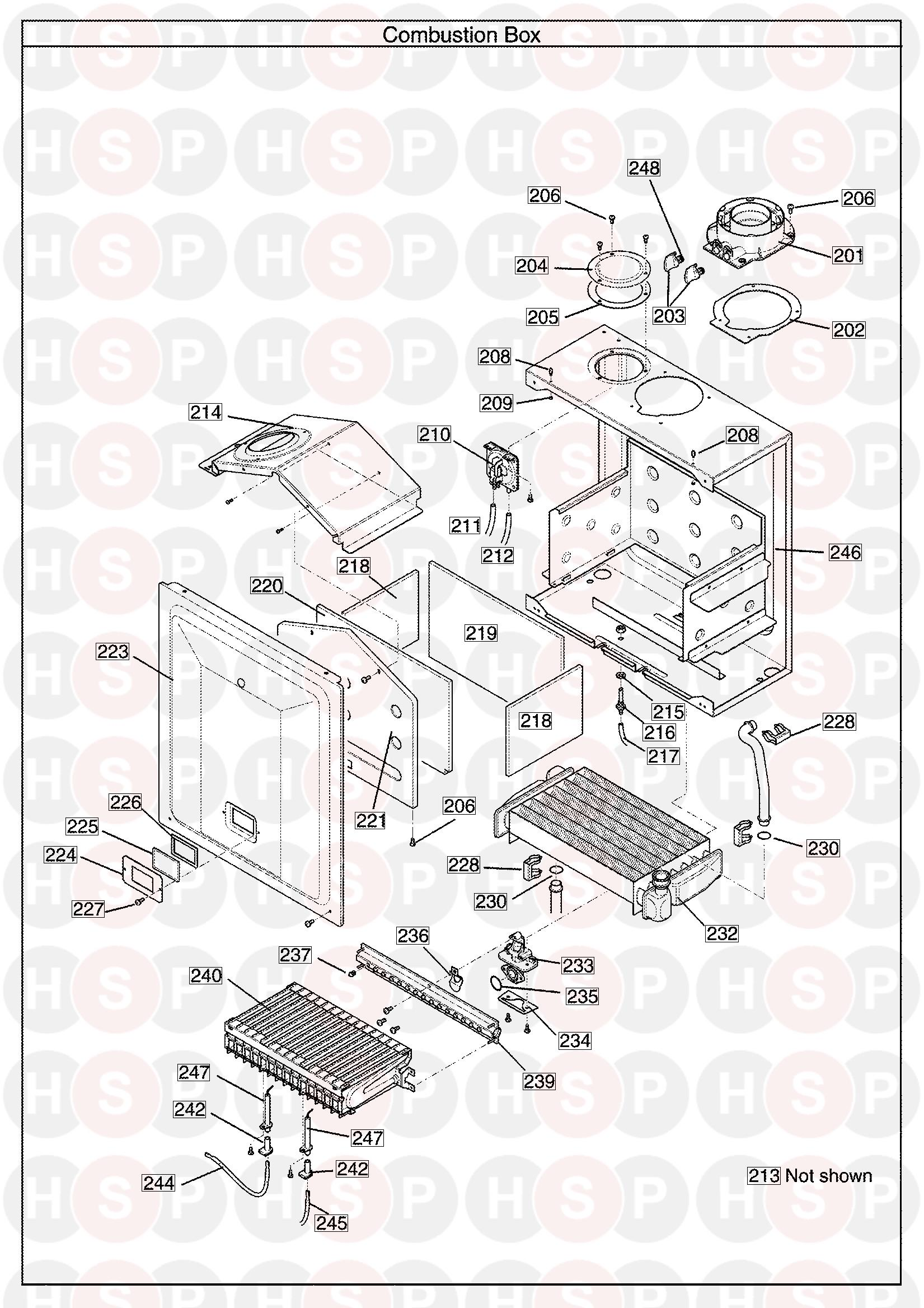 potterton performa 24 he system  combustion box  diagram