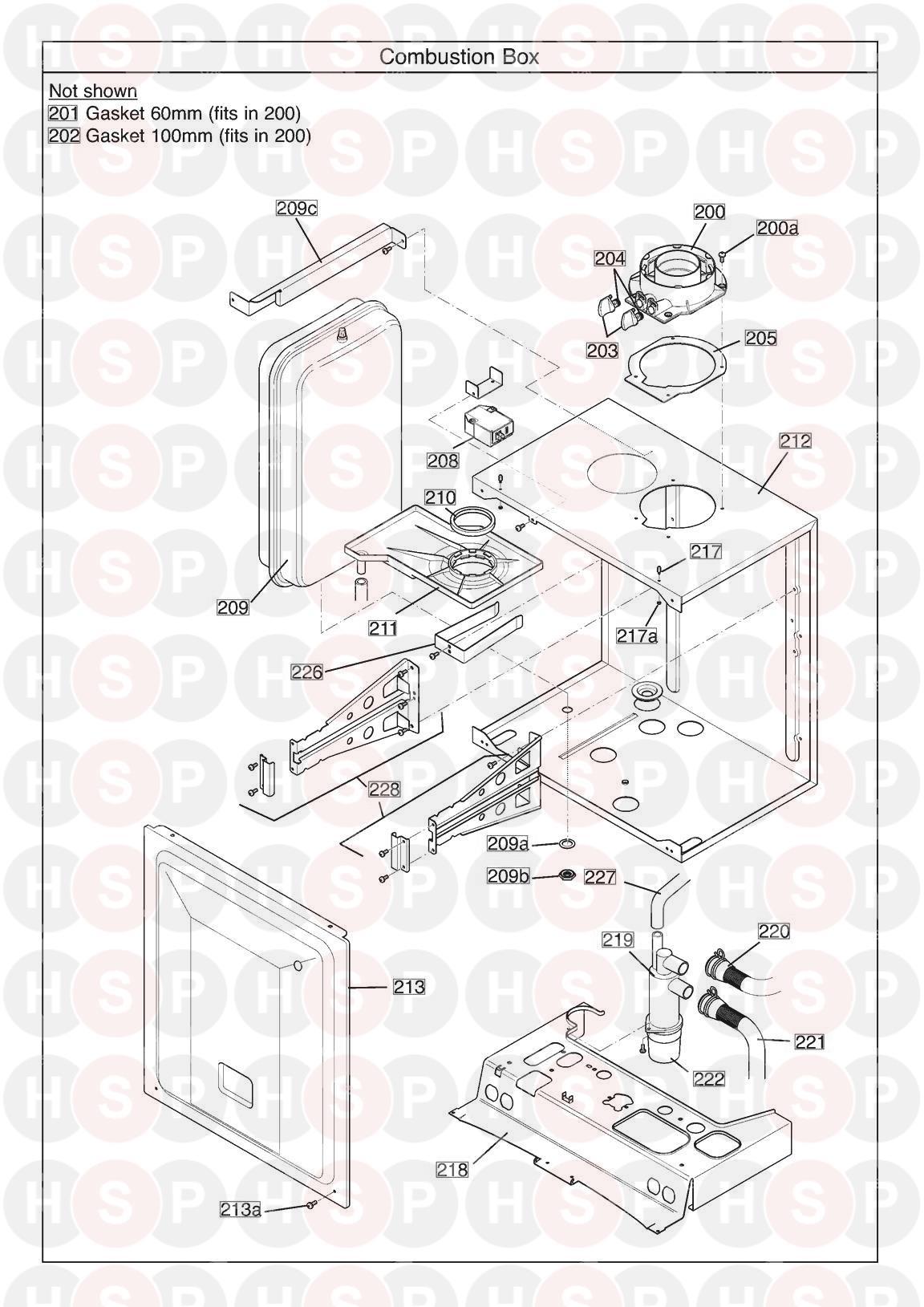Potterton PROMAX SYSTEM 18 ERP (Combustion Box) Diagram