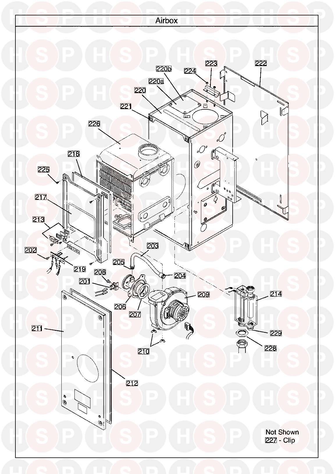 AIR BOX diagram for Potterton GOLD HEAT 15 Erp serial no. ending in BC