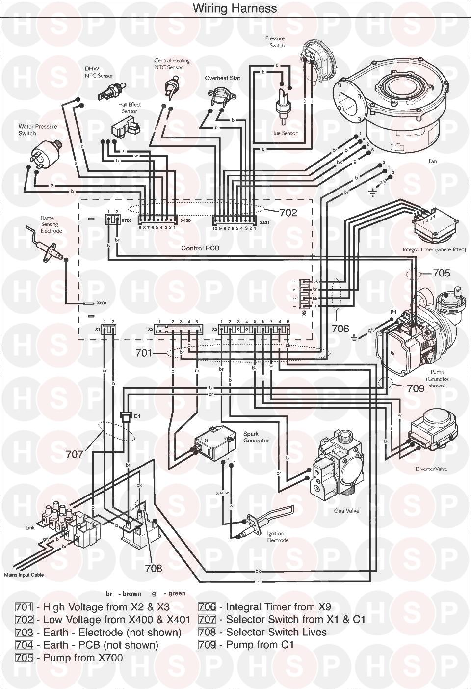 Potterton GOLD 24 COMBI ERP (SERIAL NO ENDING DC) (WIRING ... on
