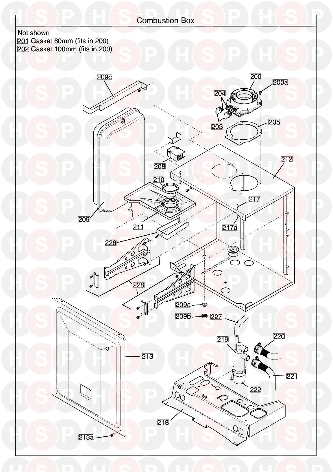 potterton titanium 28 combi erp serial no  ending in ac  combustion box  diagram