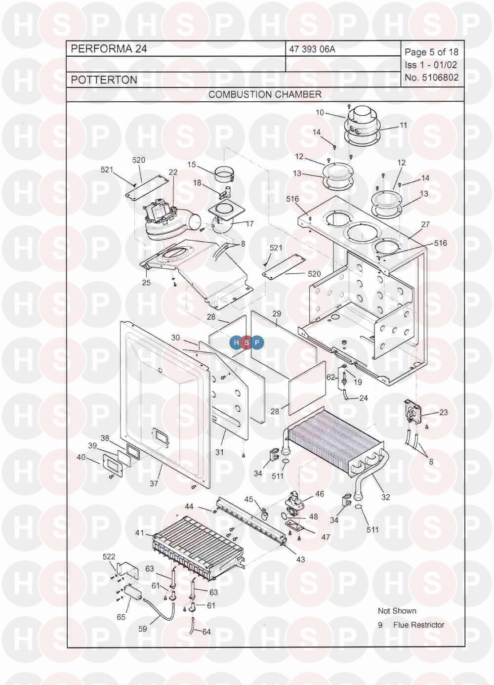Potterton PERFORMA 28I Appliance Diagram (Combustion