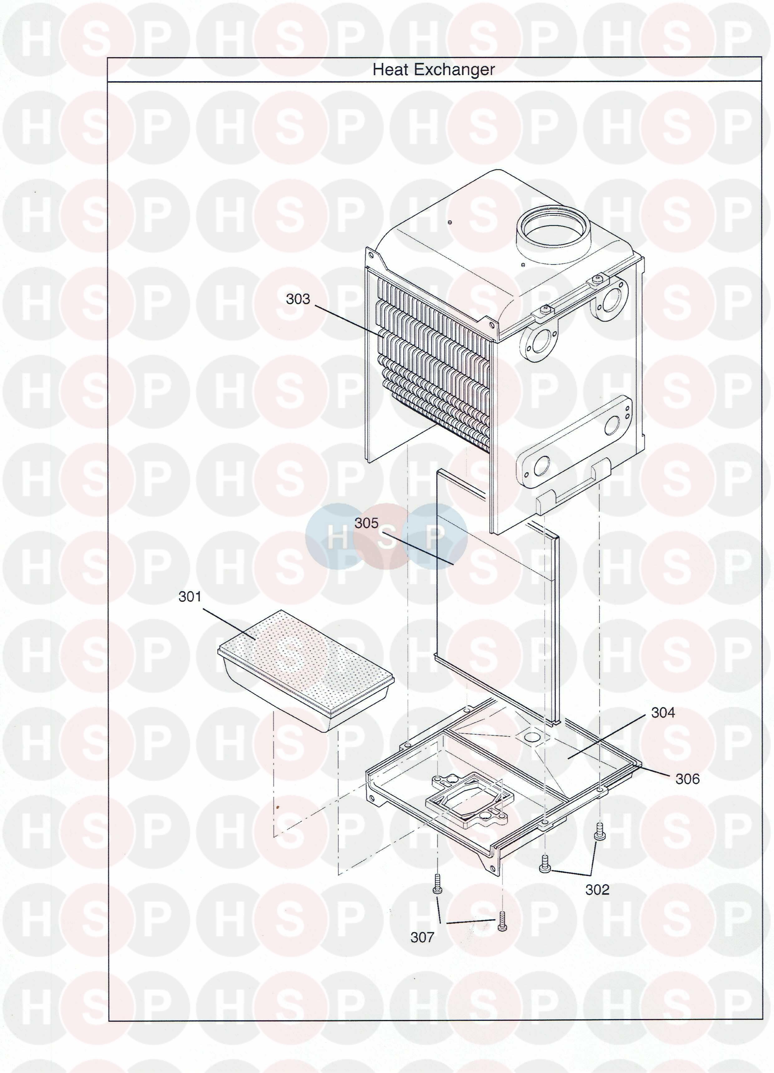 Potterton PROMAX SL15 HE PLUS  HEAT EXCHANGER     Diagram