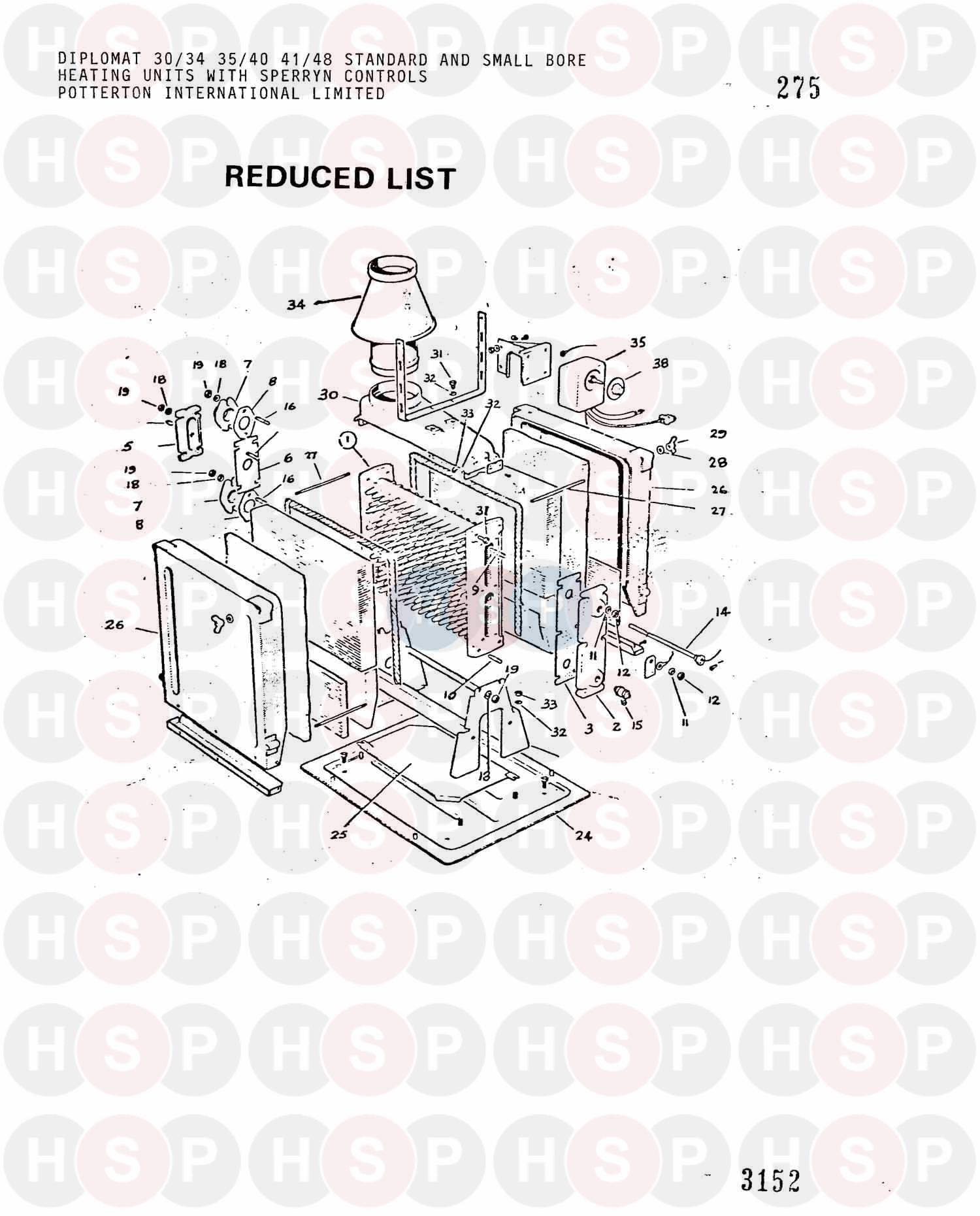Assembly diagram for Potterton DIPLOMAT 30/34 BASIC(SPERRYN)HW&SW