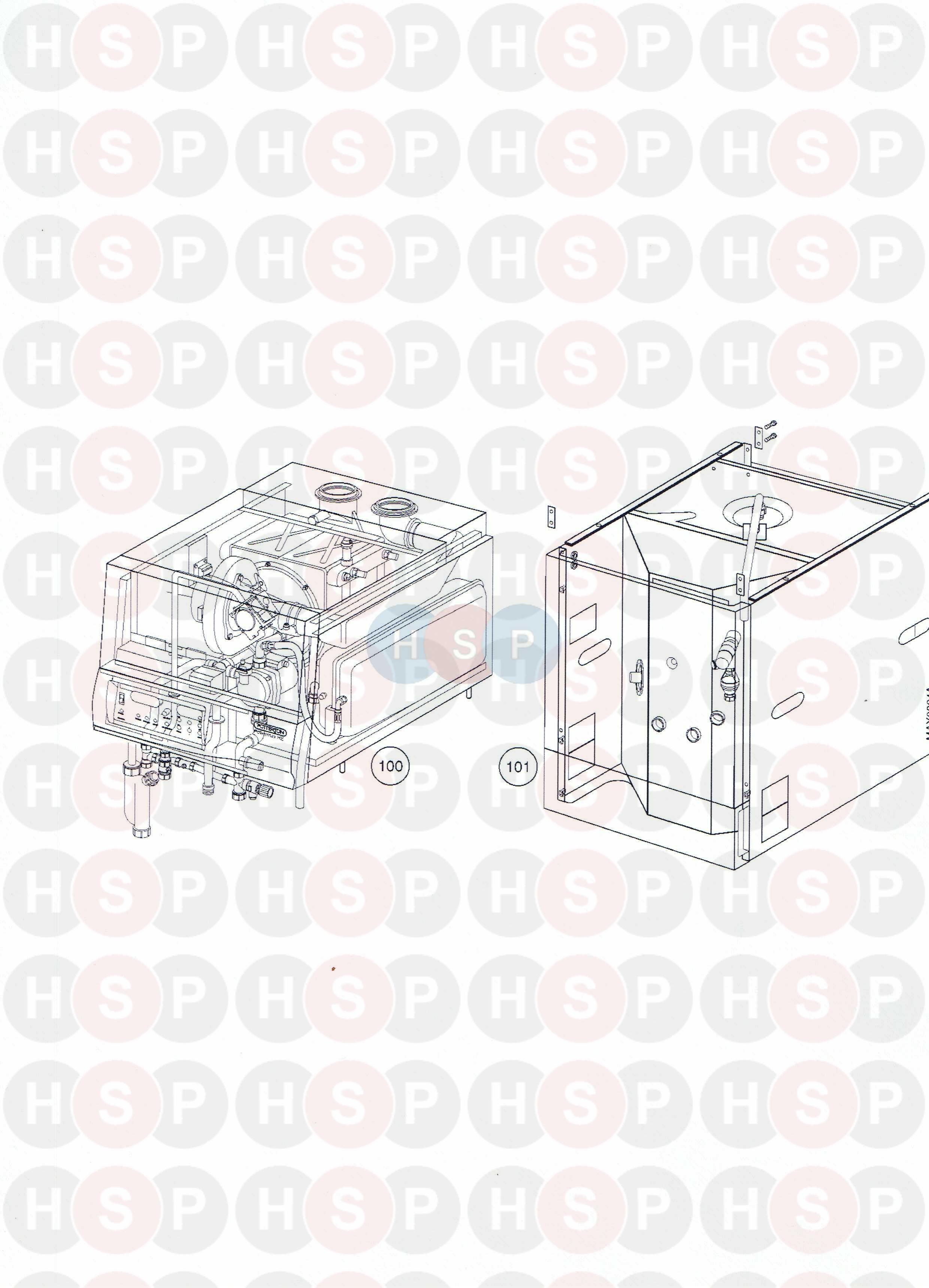 potterton powermax 85 he  top boiler  u0026 bottom assembly