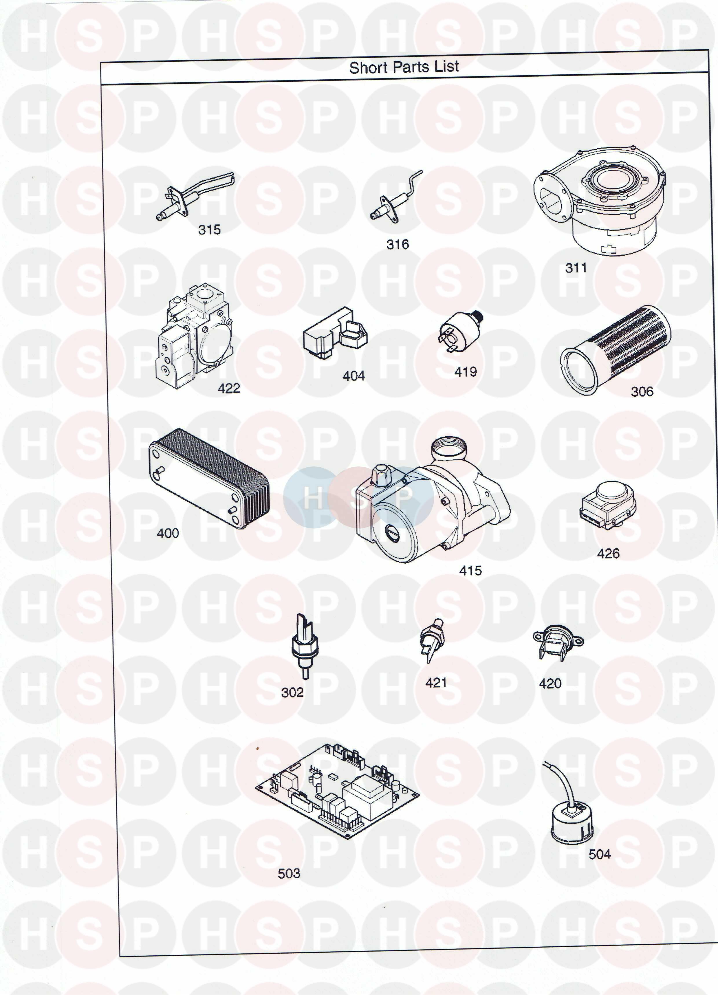 potterton promax combi 33 he plus  short parts list  diagram