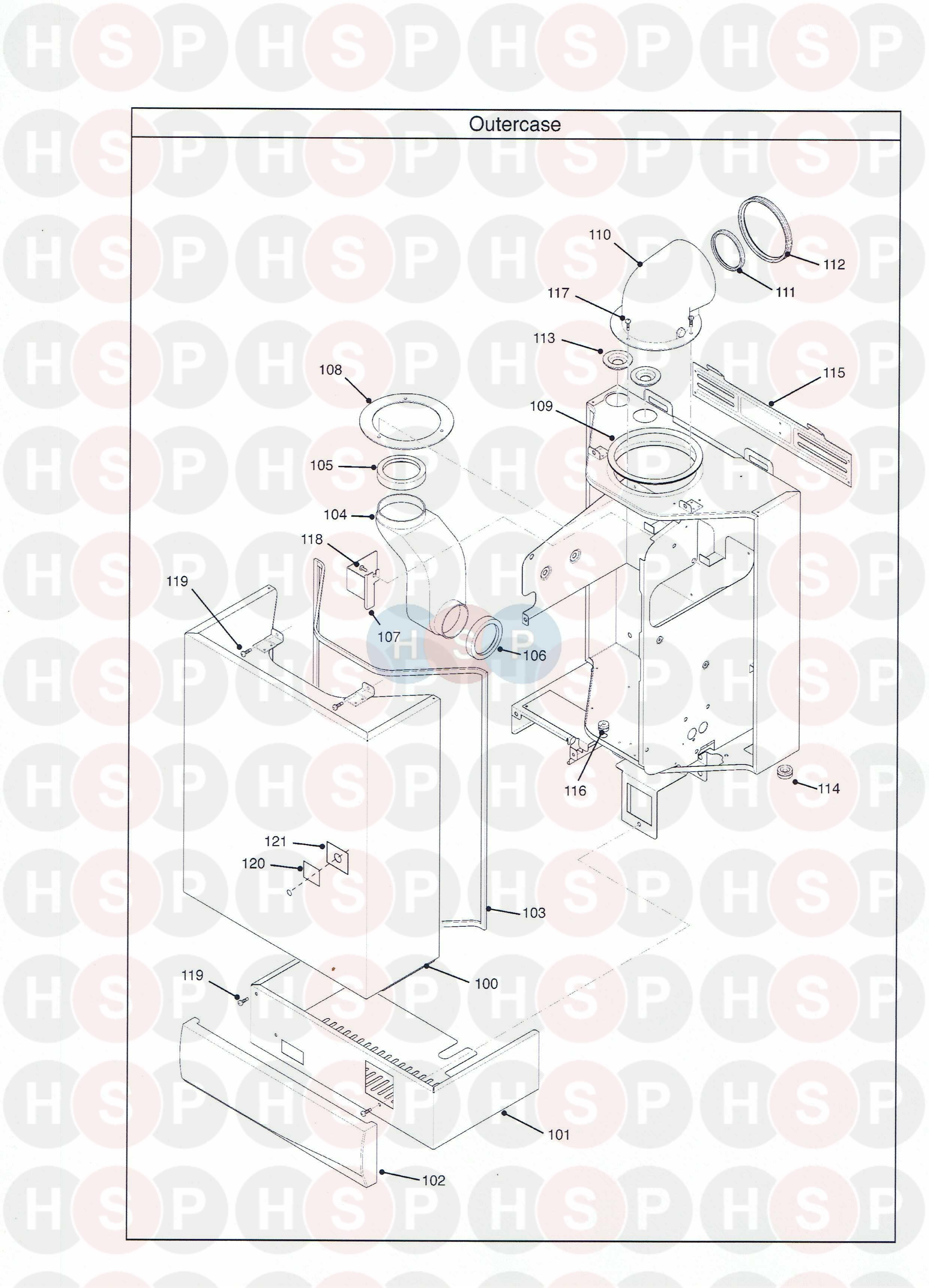 potterton performa 24 sl appliance diagram  outer case