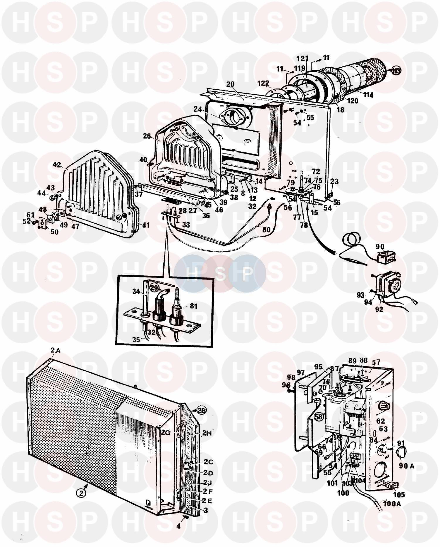 Assembly diagram for Potterton LEVANTE B.F. AUTOMATIC