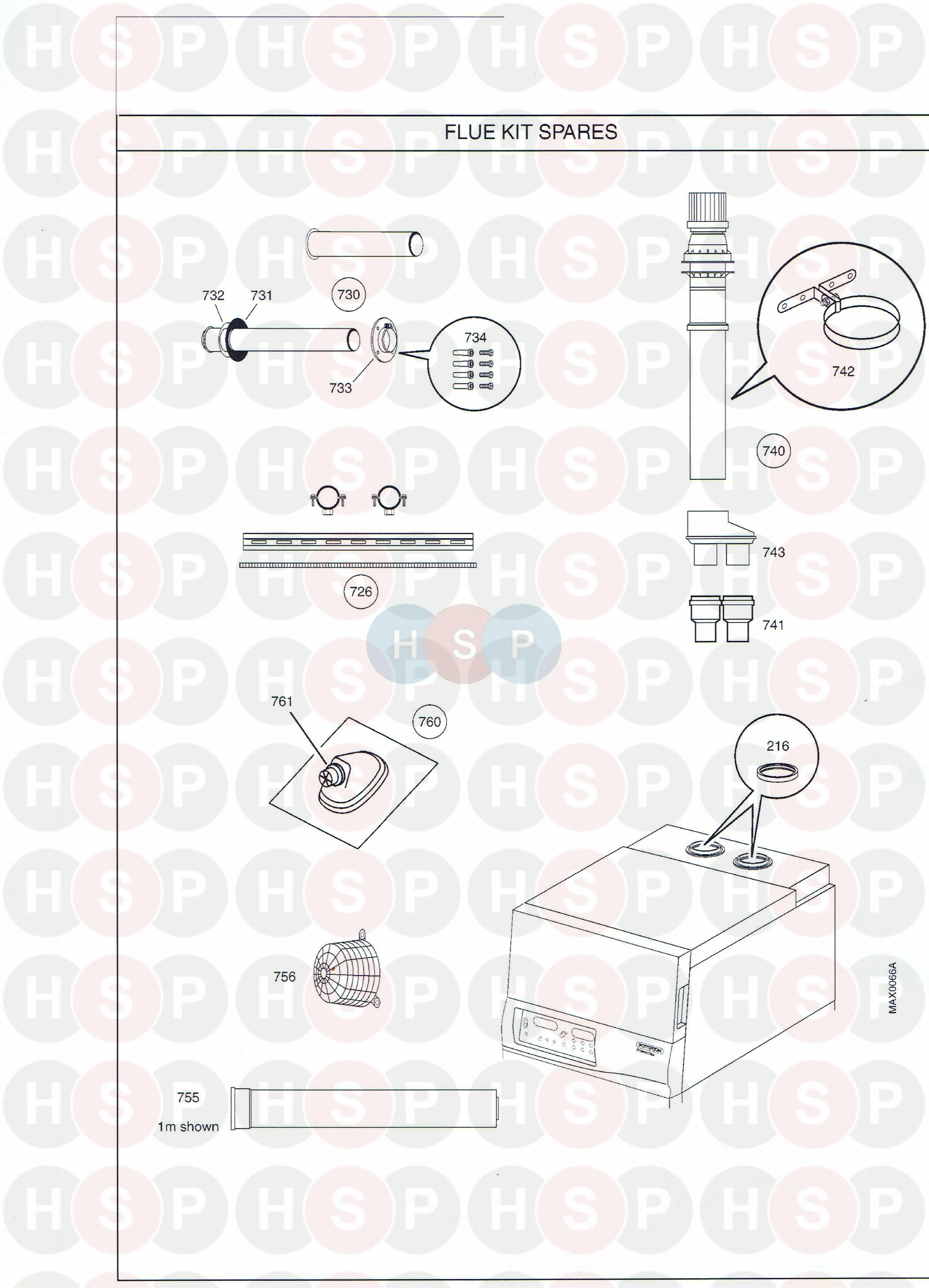 Potterton Powermax 85 He  Flue Kit Spares  Diagram