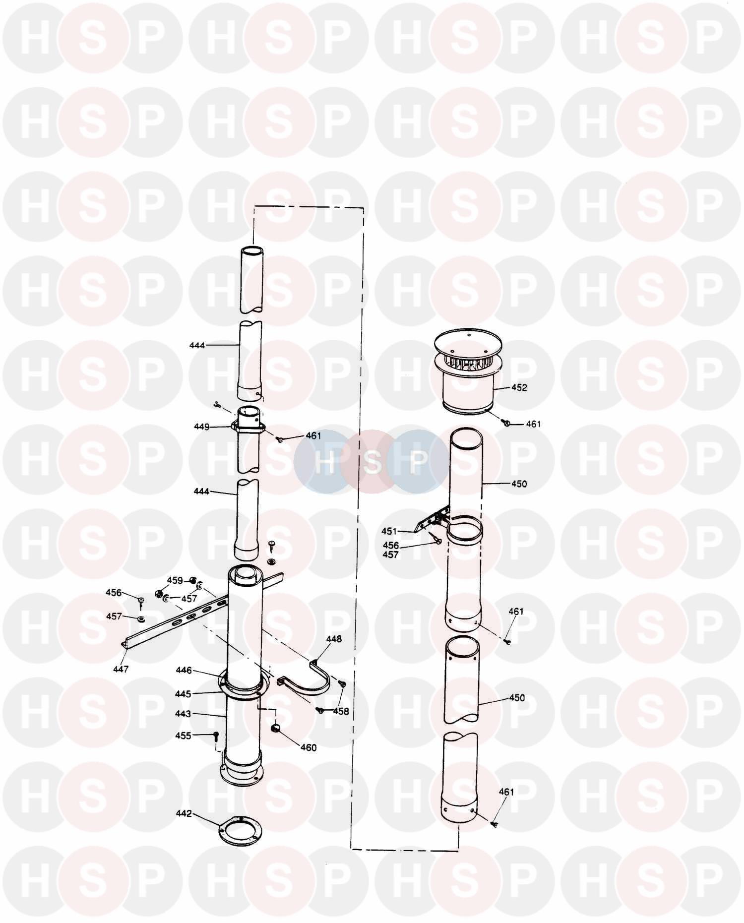 Potterton LYNX 2 LPG Appliance Diagram (2.6m Vertical Flue