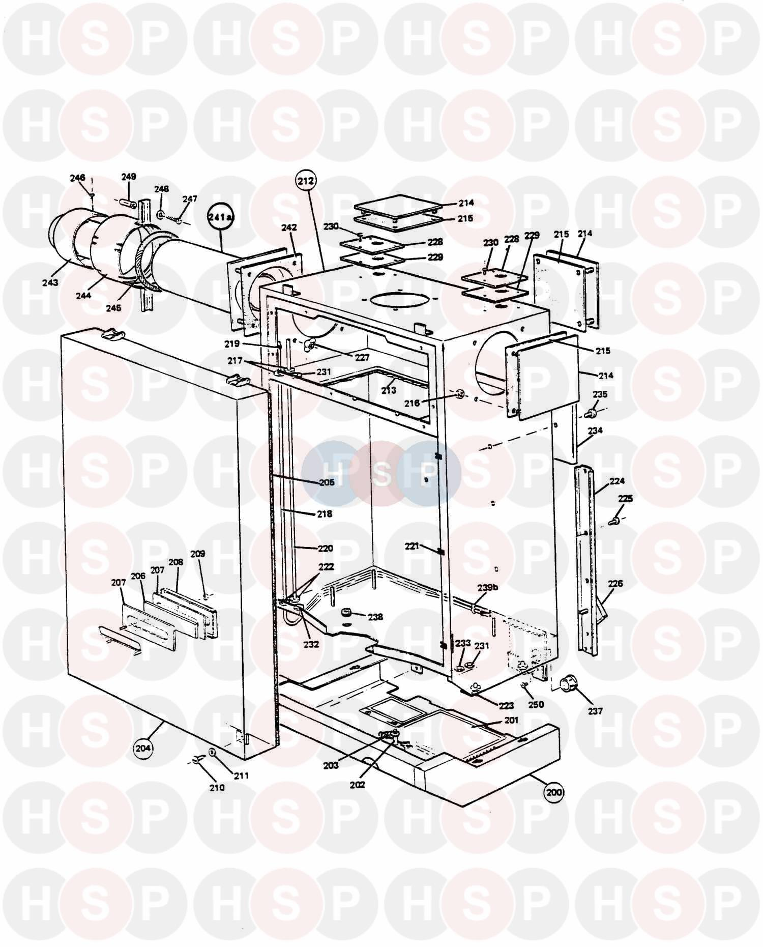 Potterton NETAHEAT PROFILE 50E (Outer Case & Flue) Diagram