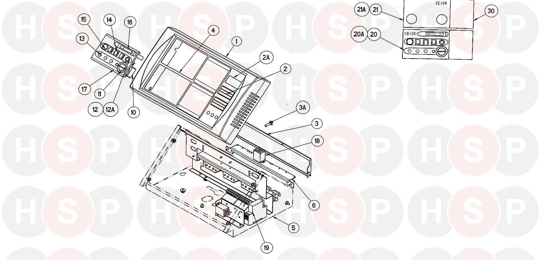 Potterton NXR4 9-17 Section (CONTROL PANEL WHITE CASING