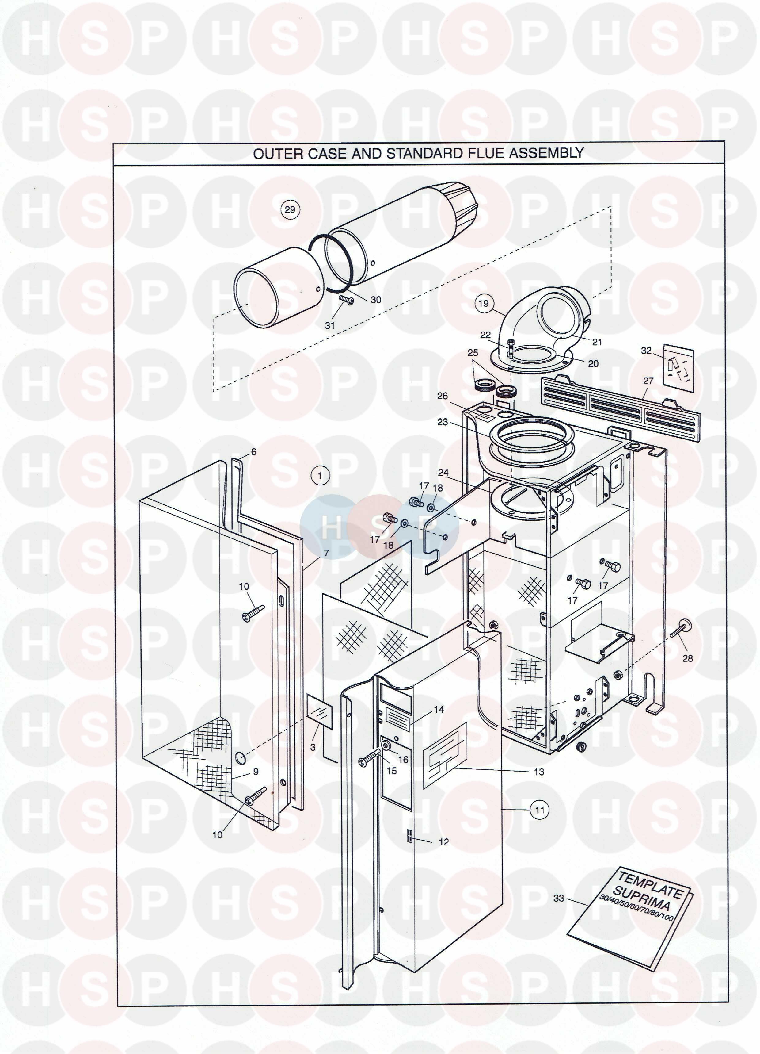 Potterton SUPRIMA 30L Appliance Diagram (Outer Case