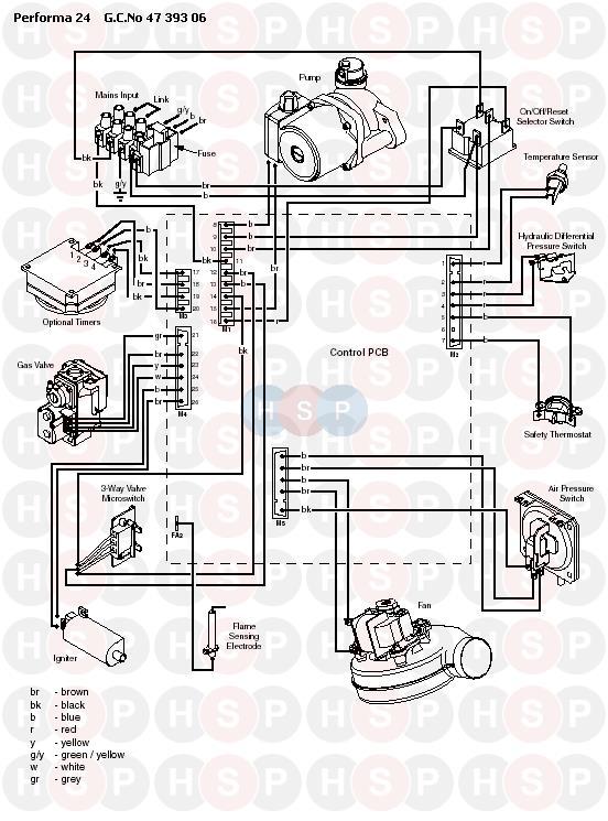 Potterton Performa 24 >> Potterton Performa 24 Electrical Diagram Heating Spare Parts