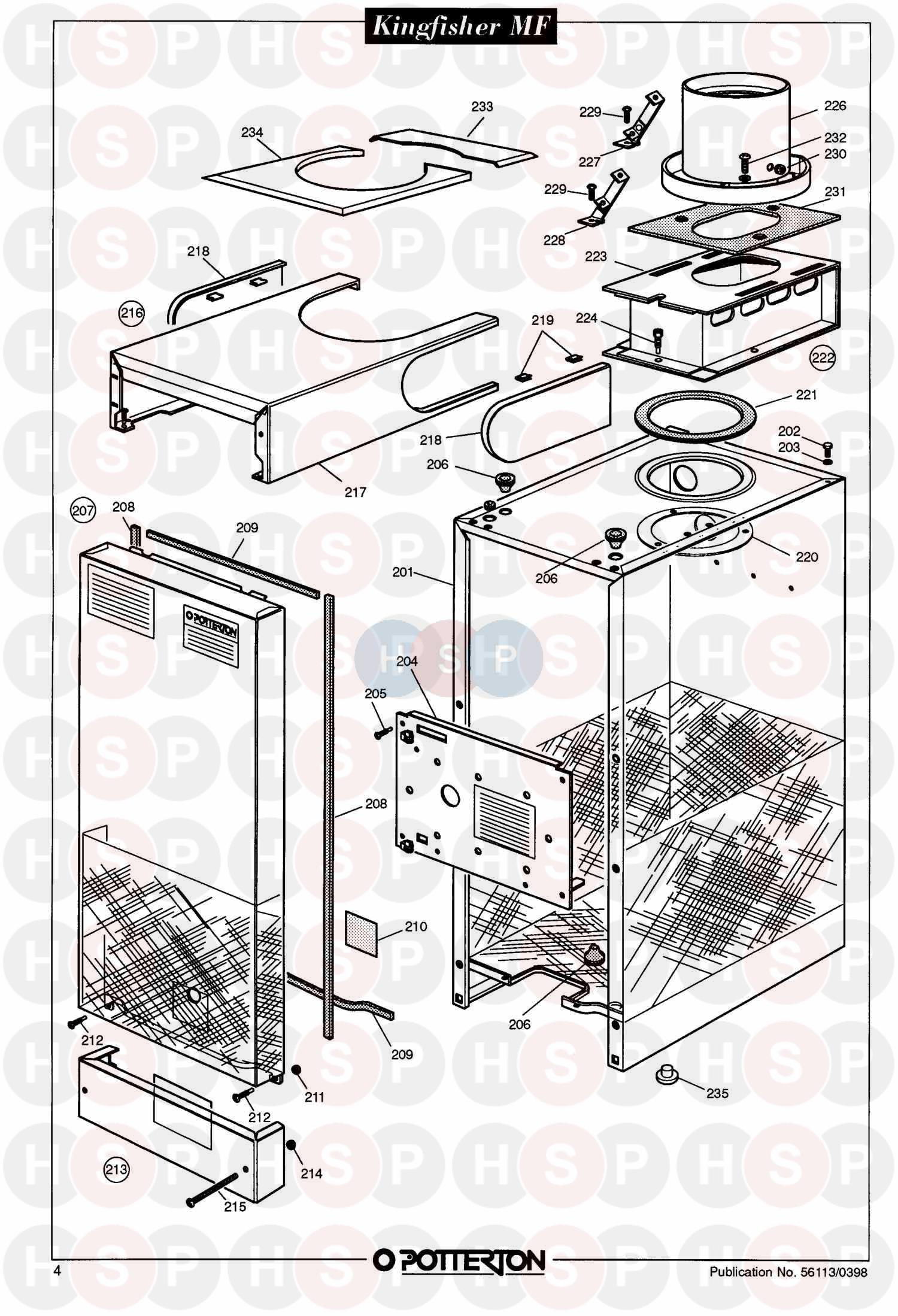 Potterton KINGFISHER MF CF80 Appliance Diagram (ASSEMBLY 1