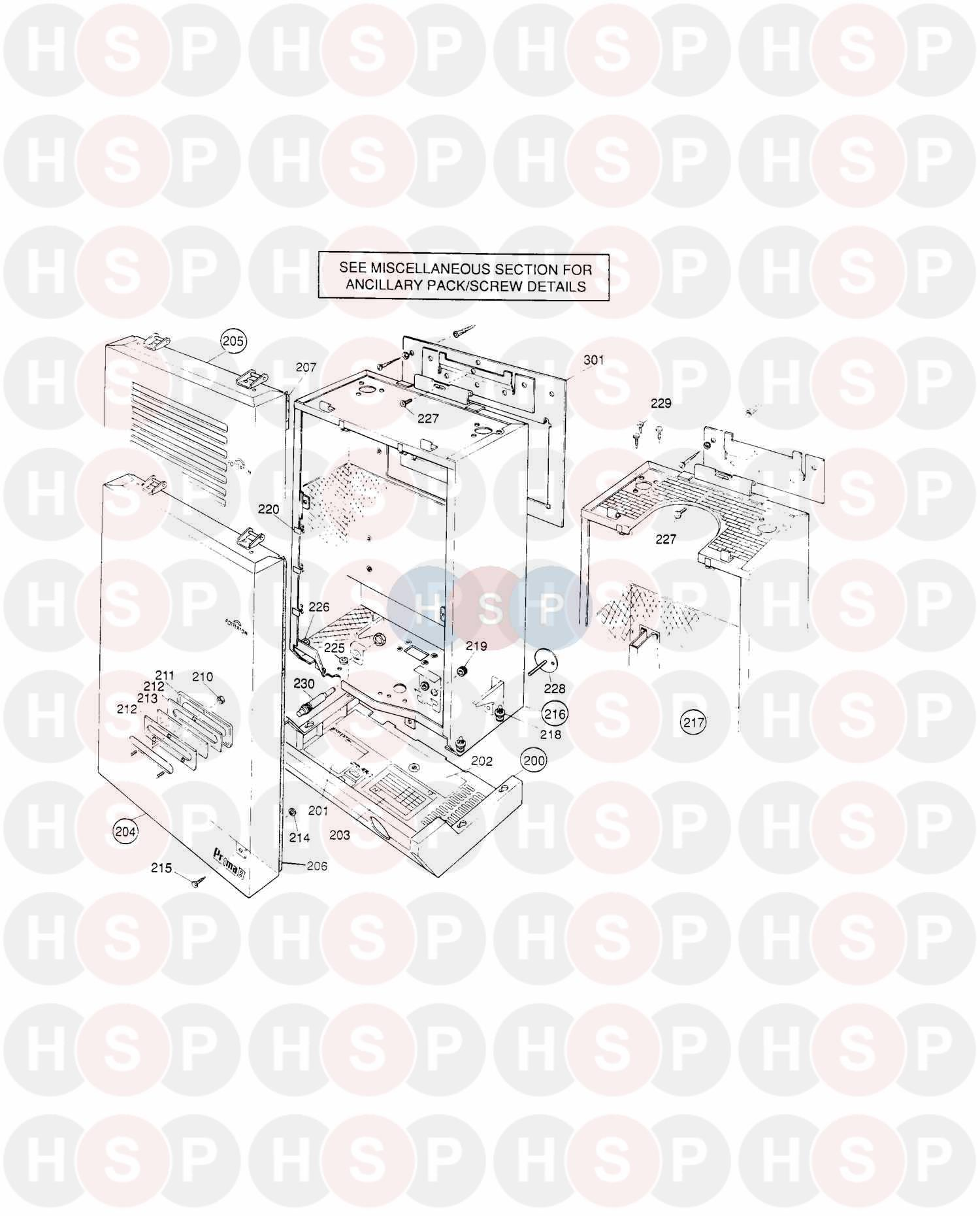 Potterton Prima C 50 Outer Case Diagram Heating Spare