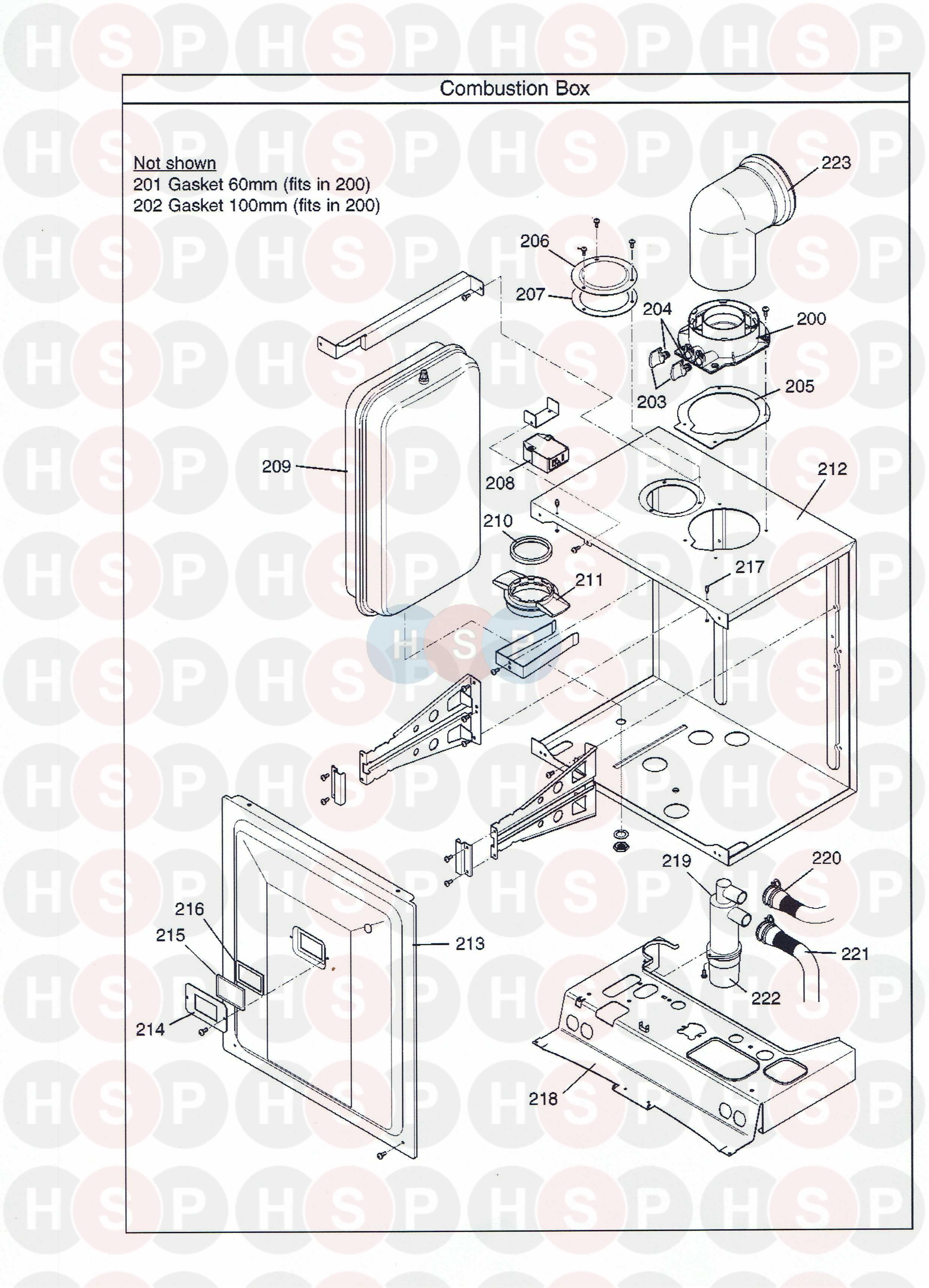 Potterton GOLD 33 HE COMBI Appliance Diagram (Combustion