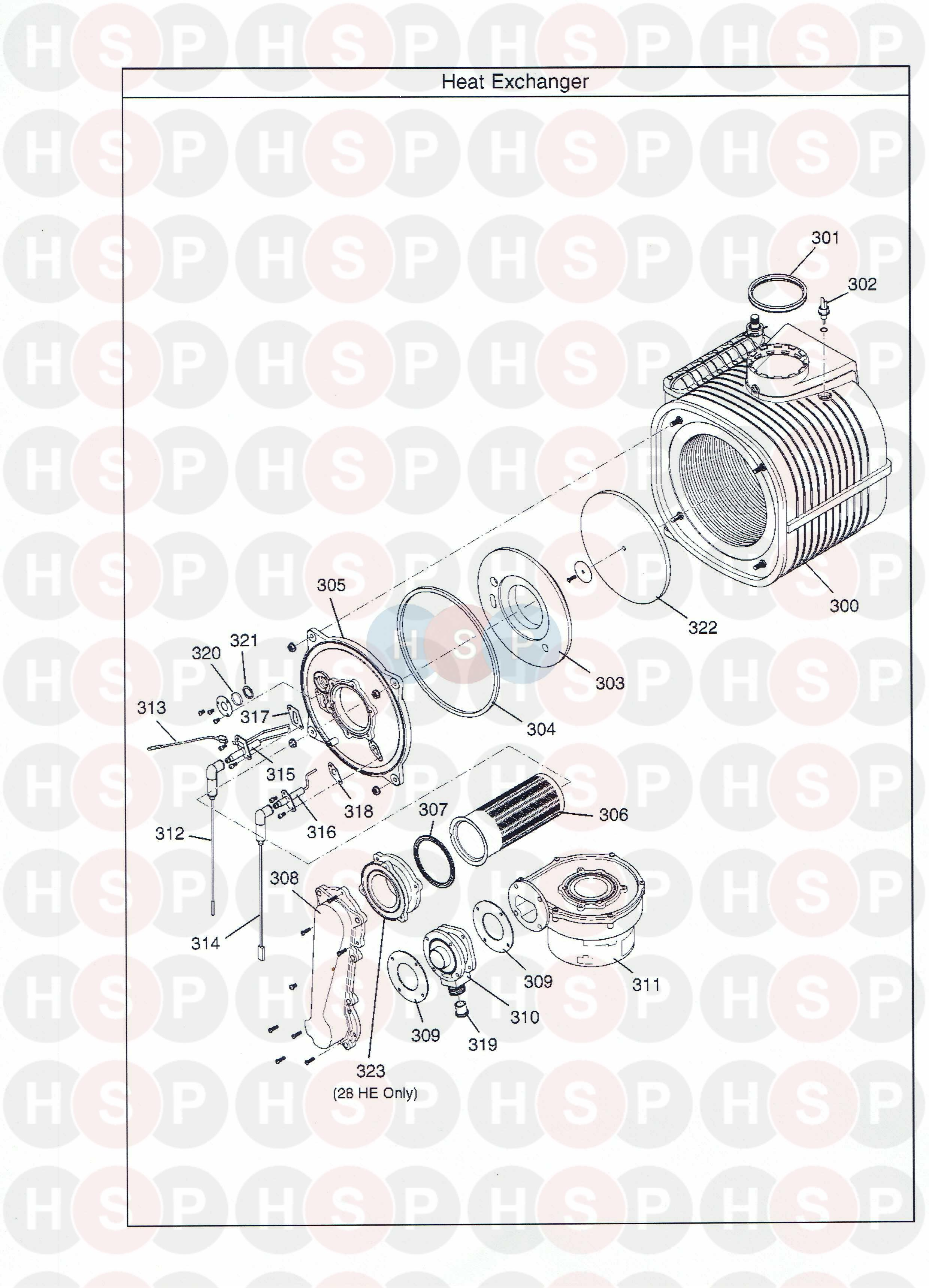 potterton gold 28 he combi  heat exchanger  diagram