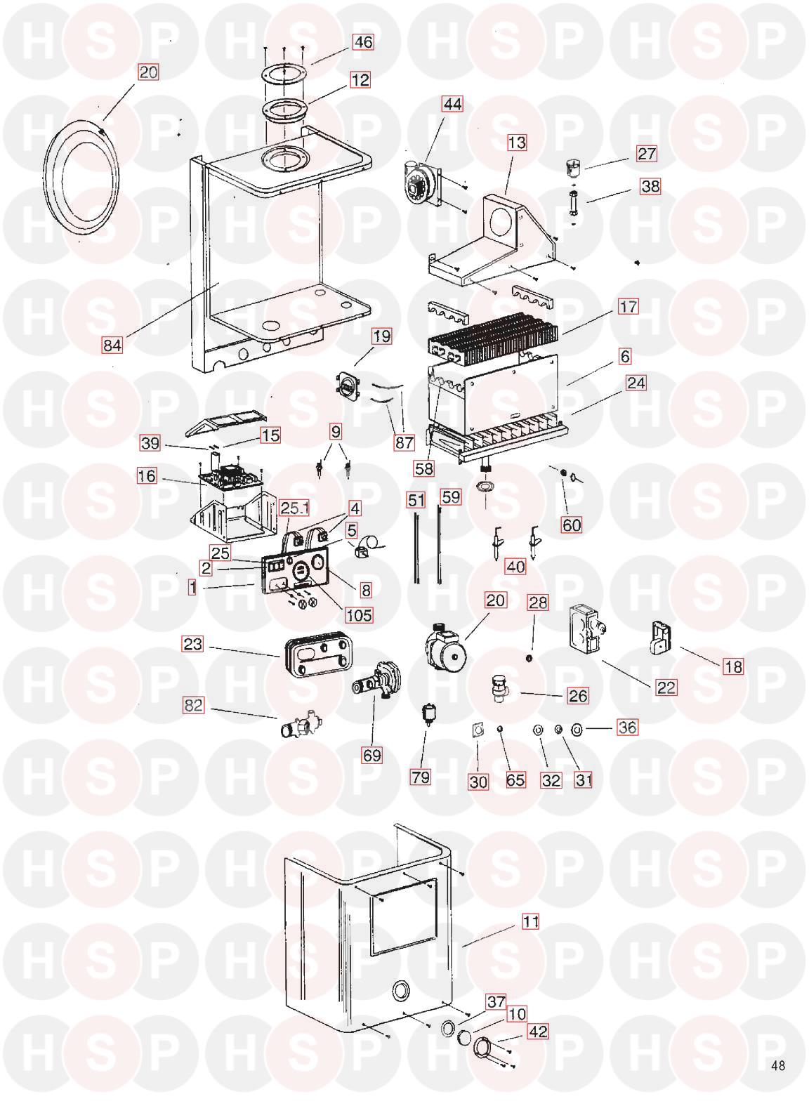 Boiler Exploded View diagram for Ravenheat LS 100T NG/LPG With/Without Timer