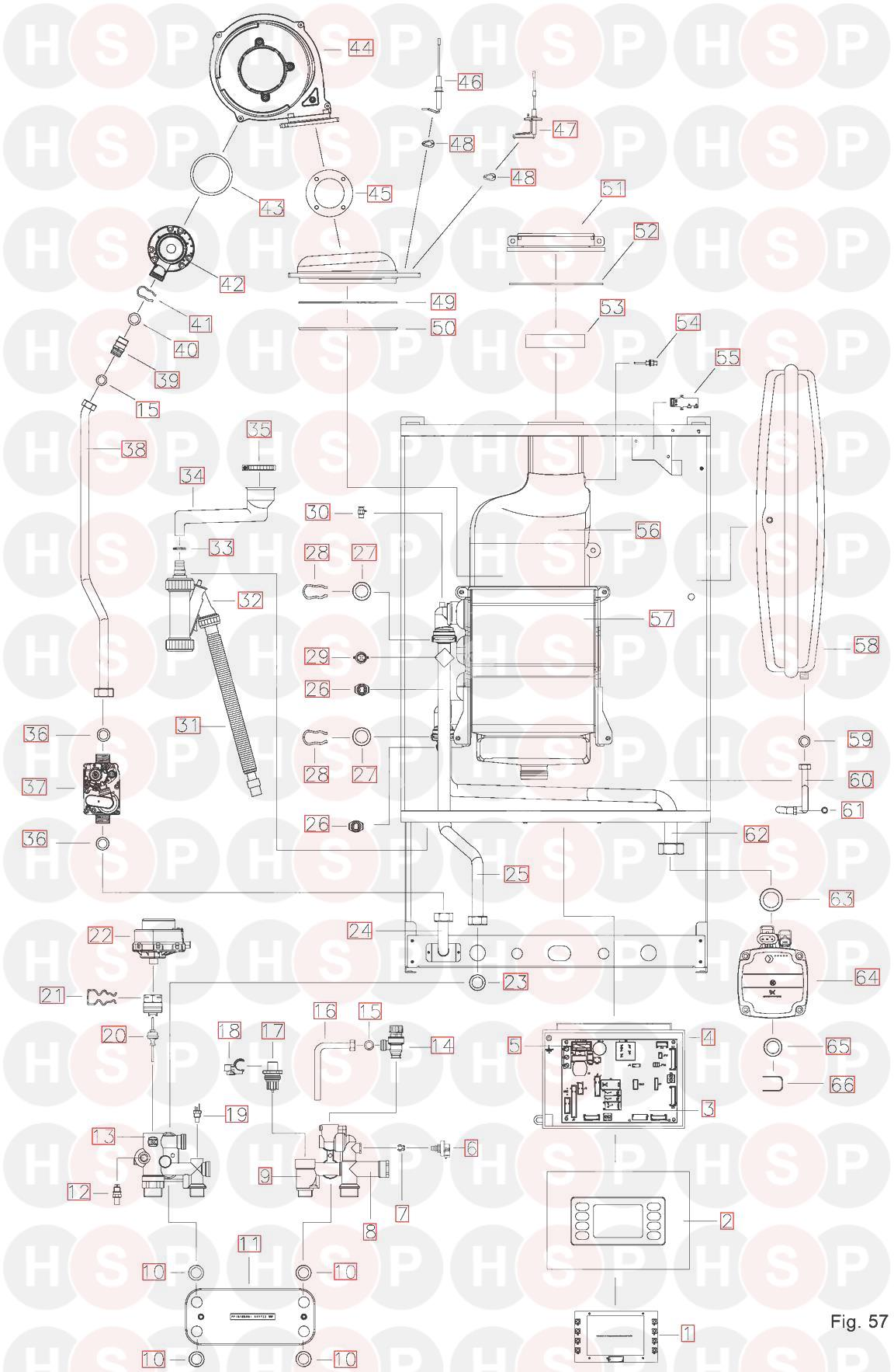 Ravenheat CS 90 ErP NG/LPG (BOILER EXPLODED VIEW) Diagram