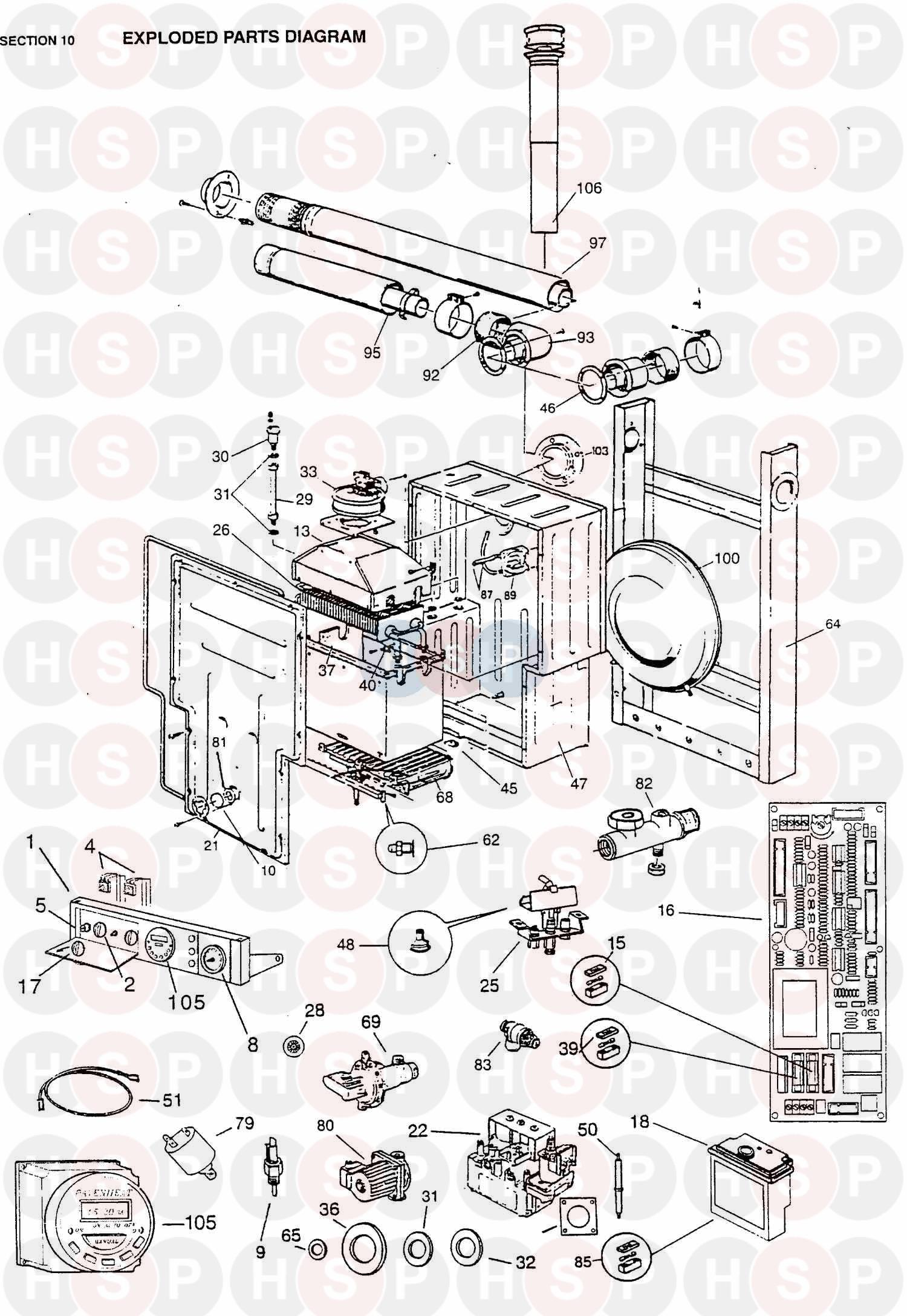 Ravenheat RSF 82ET Appliance Diagram (EXPLODED VIEW