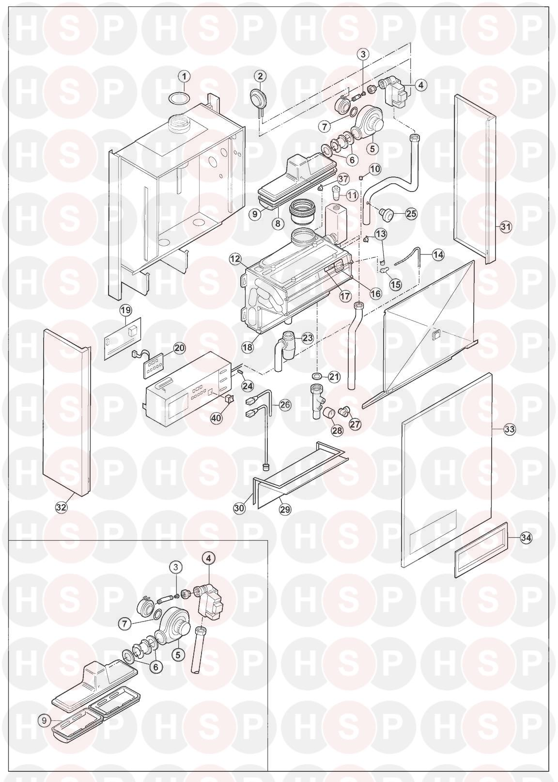 Remeha-Broag W40/60 1:1 Ratio High / Low (EXPLODED VIEW